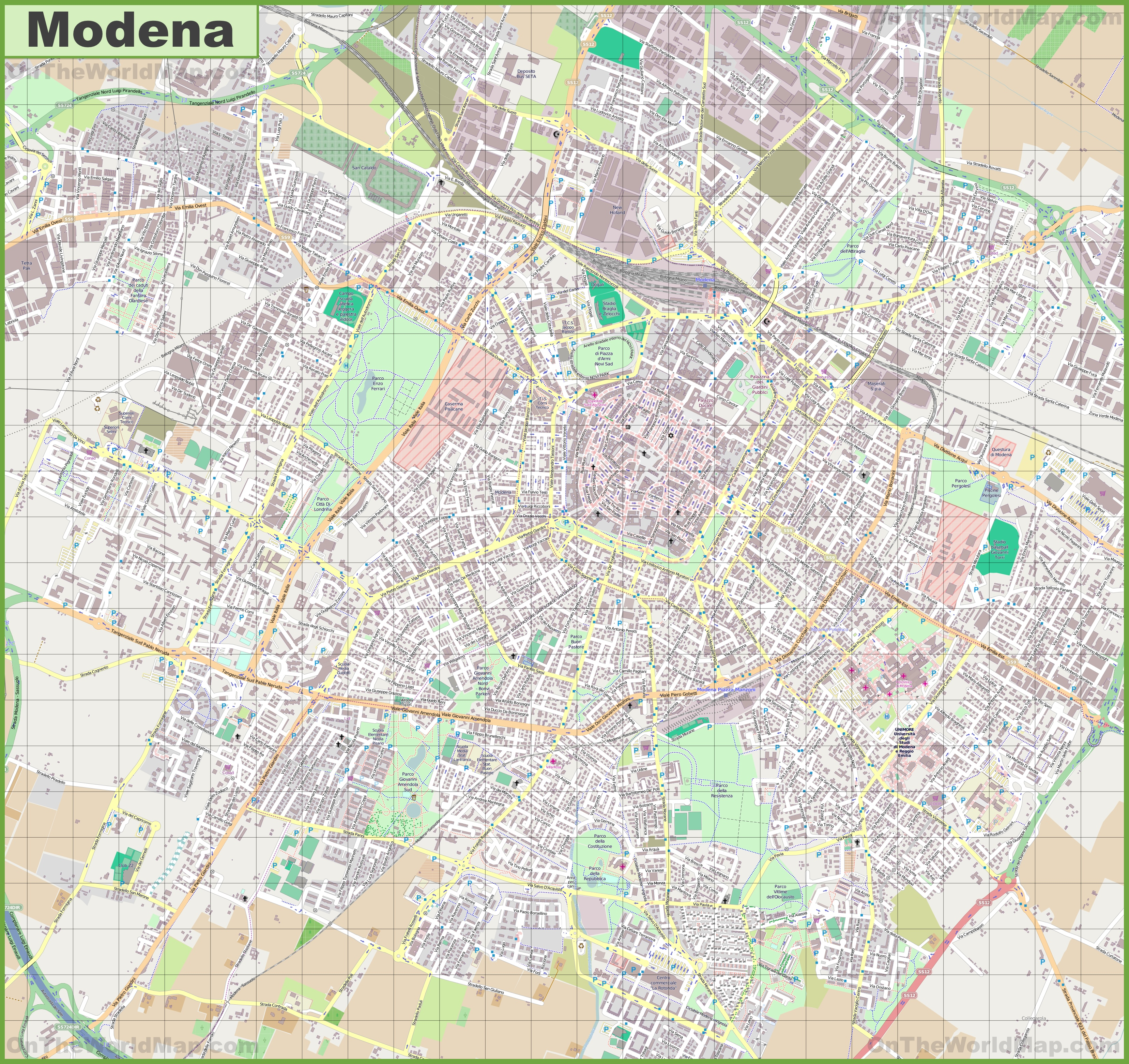 Large detailed map of Modena