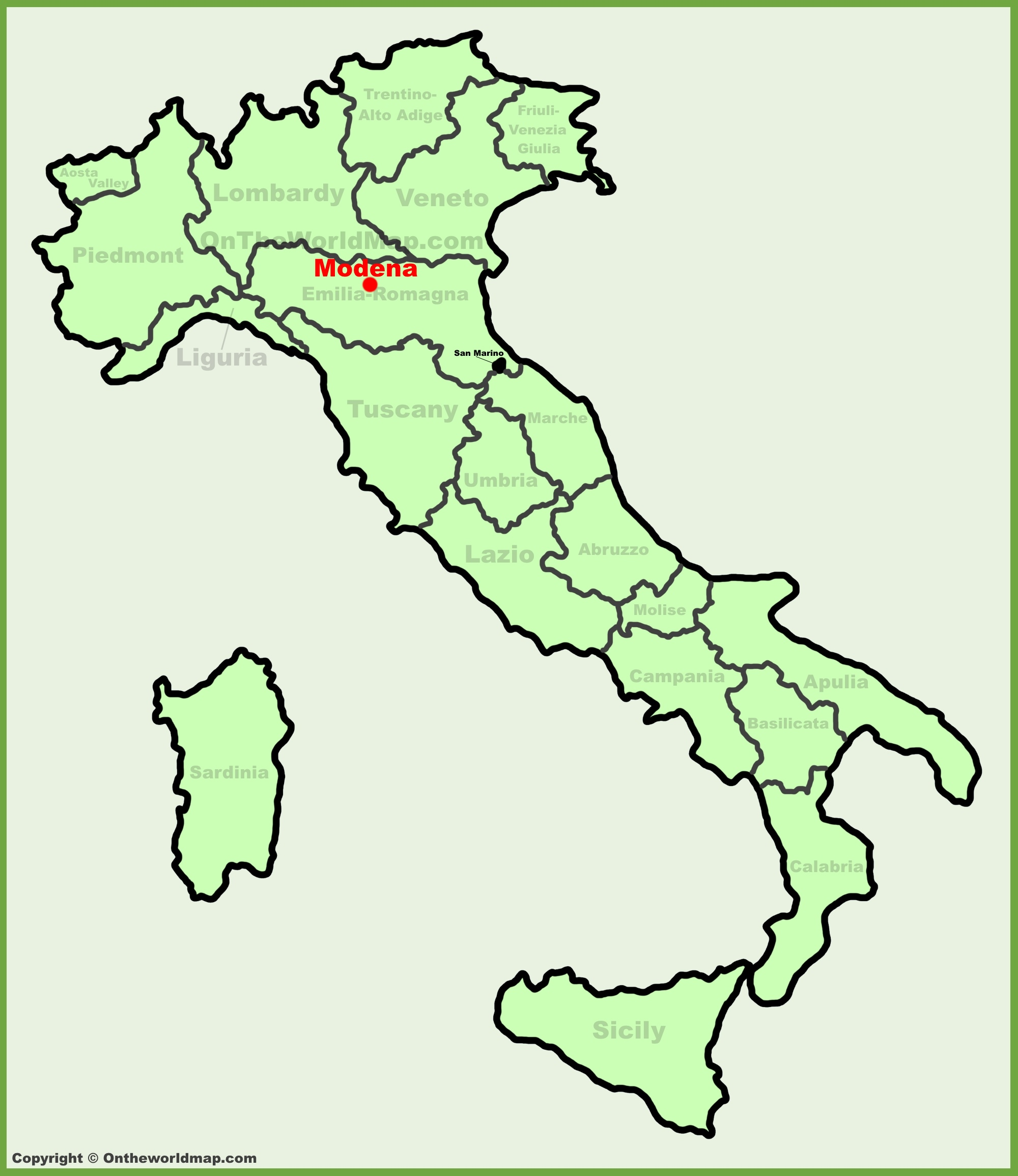 Modena location on the Italy map