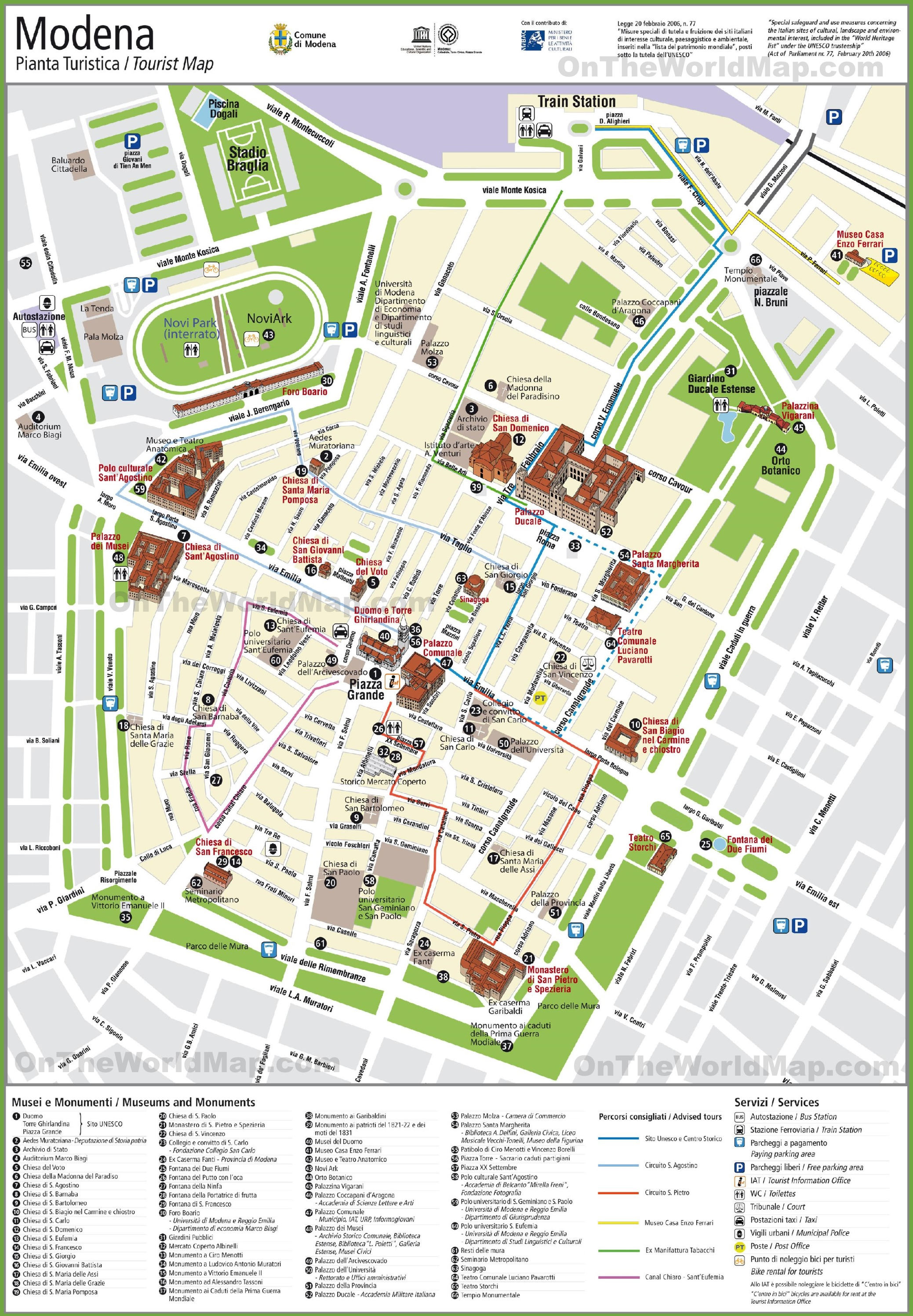 Modena tourist attractions map