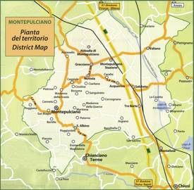 Map of Surroundings of Montepulciano
