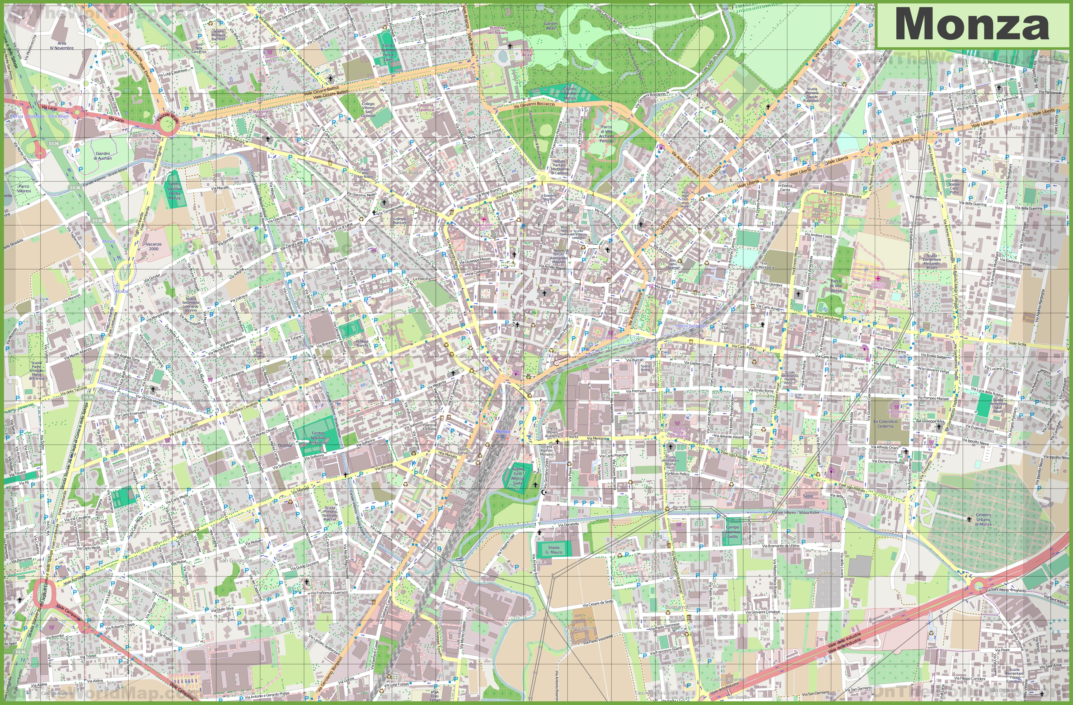 Large Detailed Map Of Monza