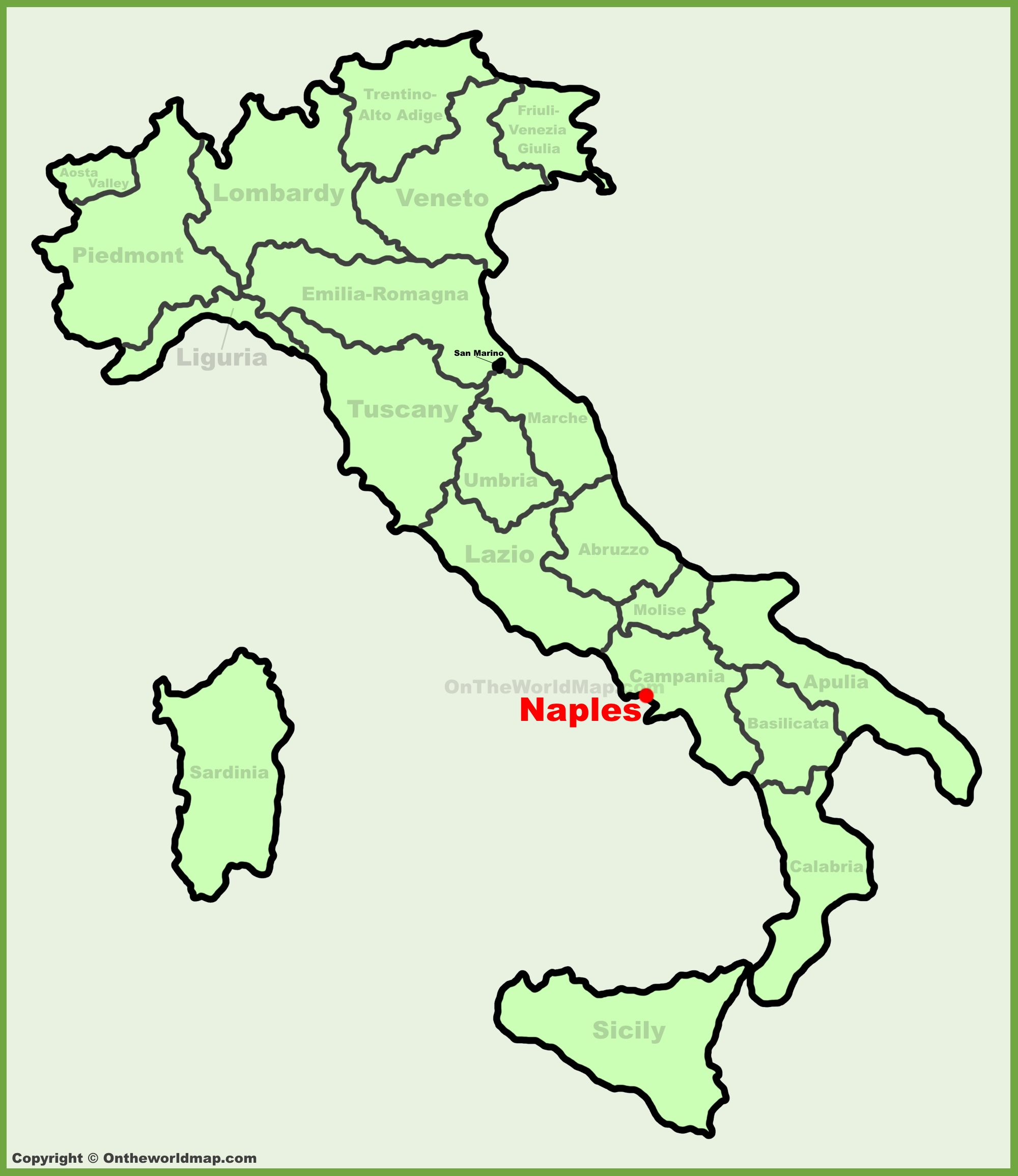 Naples location on the Italy map