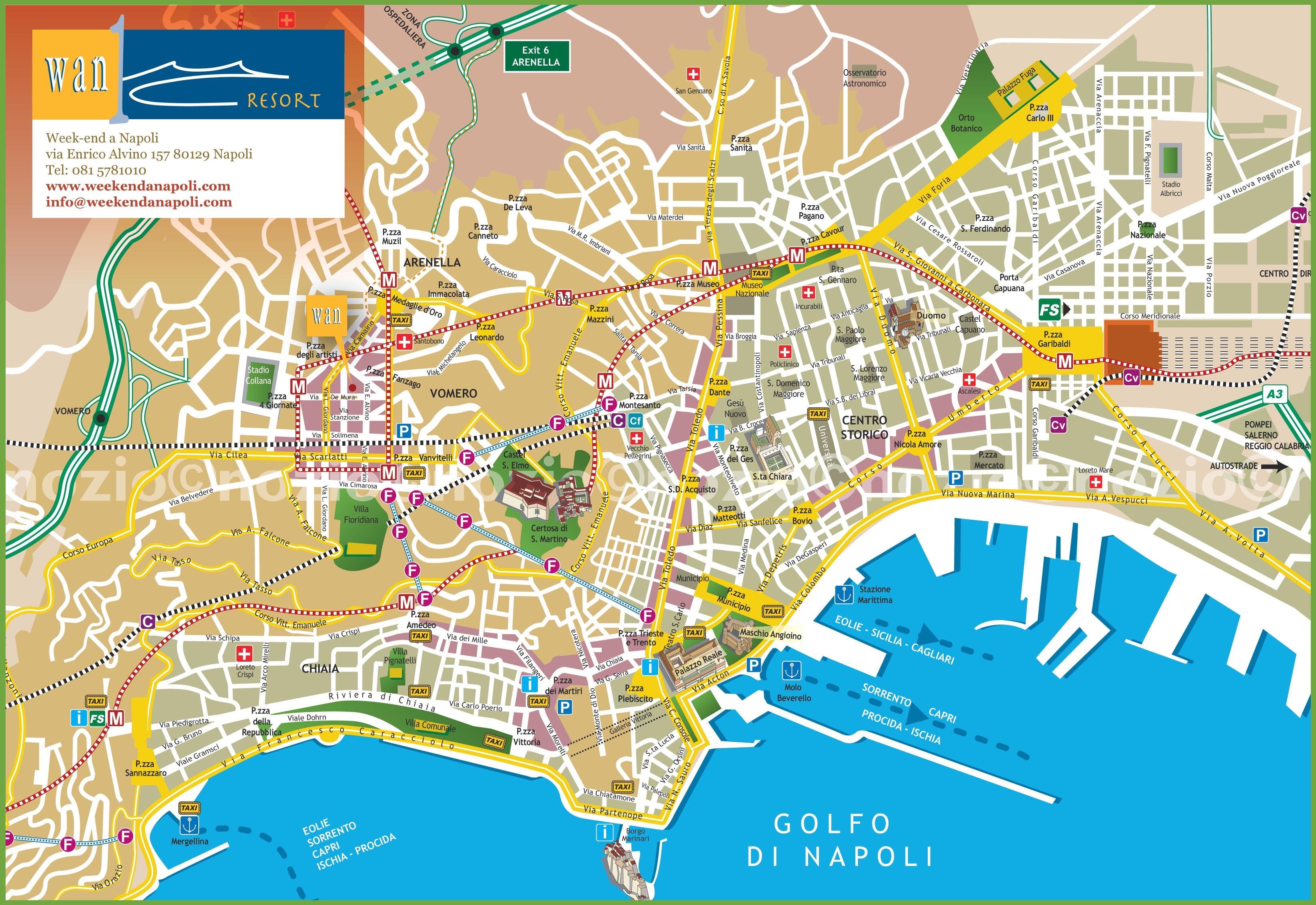 Naples tourist city centre map