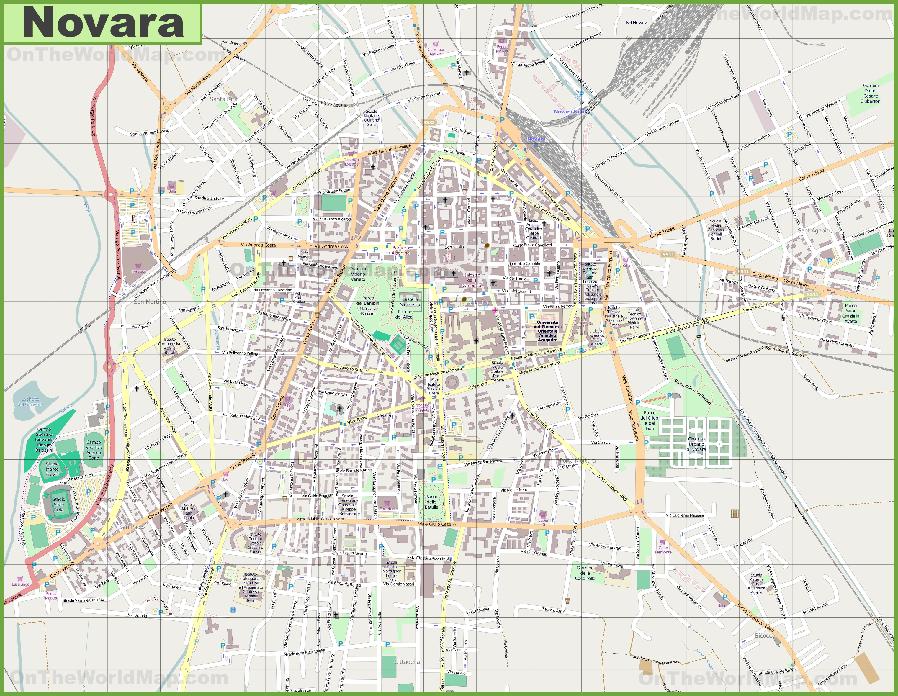 Large detailed map of Novara