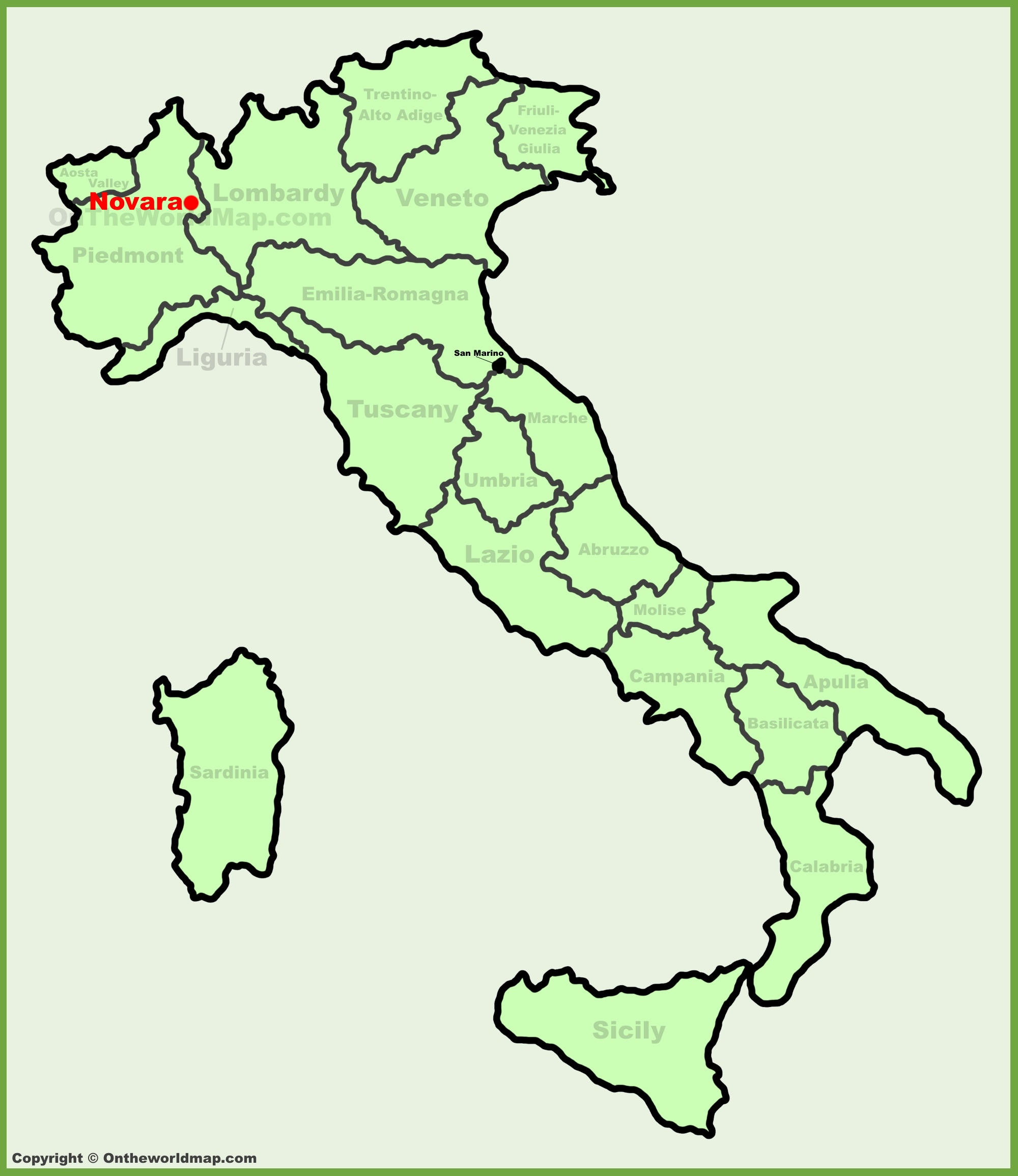 Novara location on the Italy map