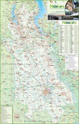 Province of Novara tourist map
