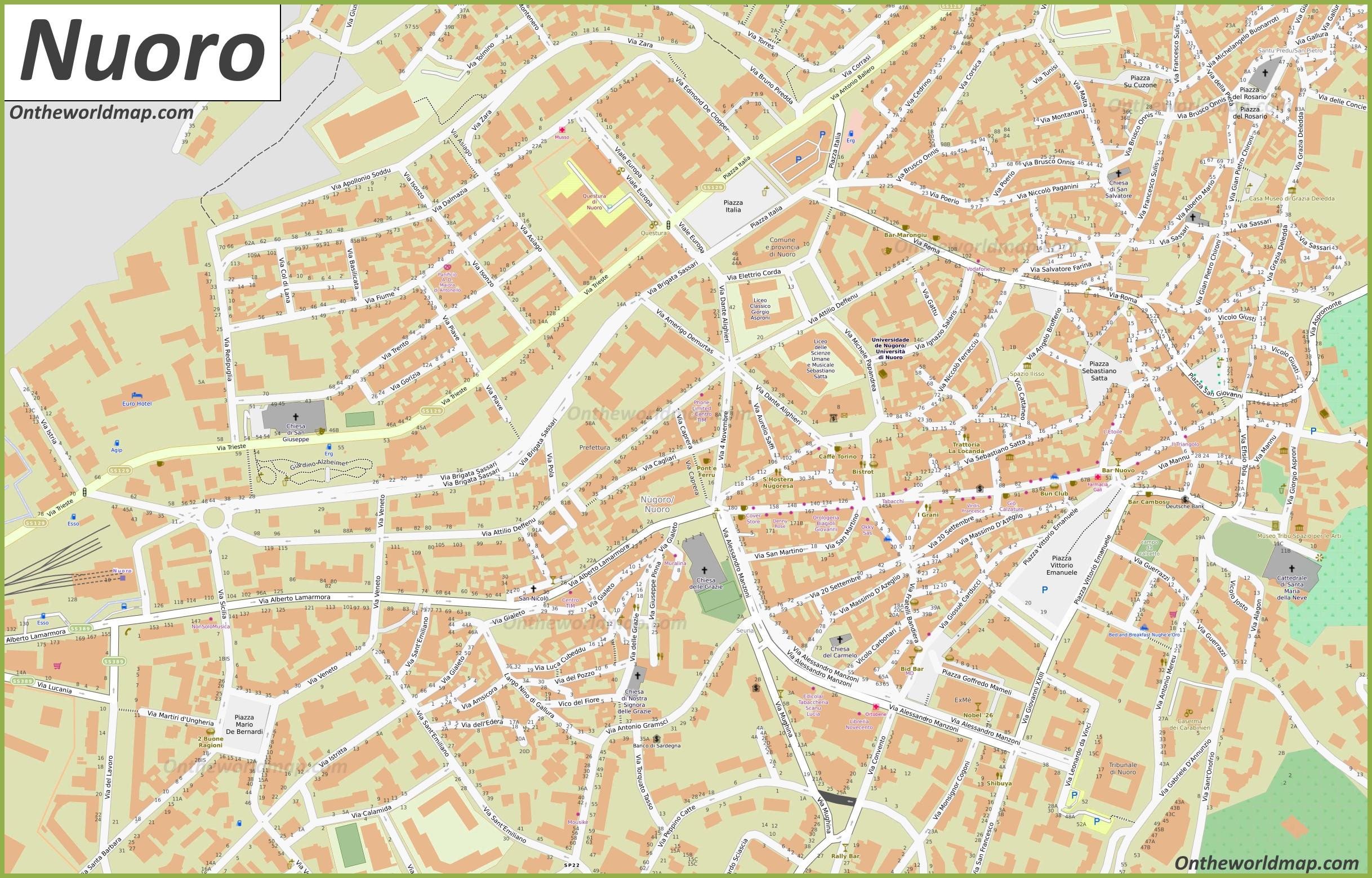 Nuoro Mappa | Italia | Mappe di Nuoro