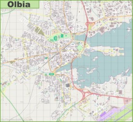 Large detailed map of Olbia