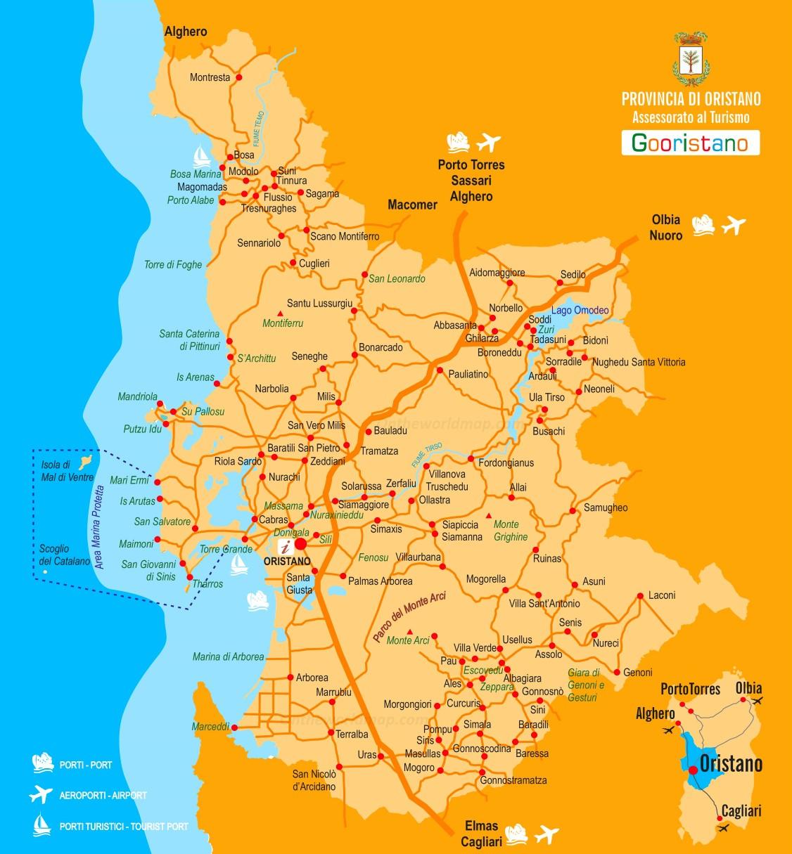 Cartina Sardegna Oristano.Provincia Di Oristano Mappa