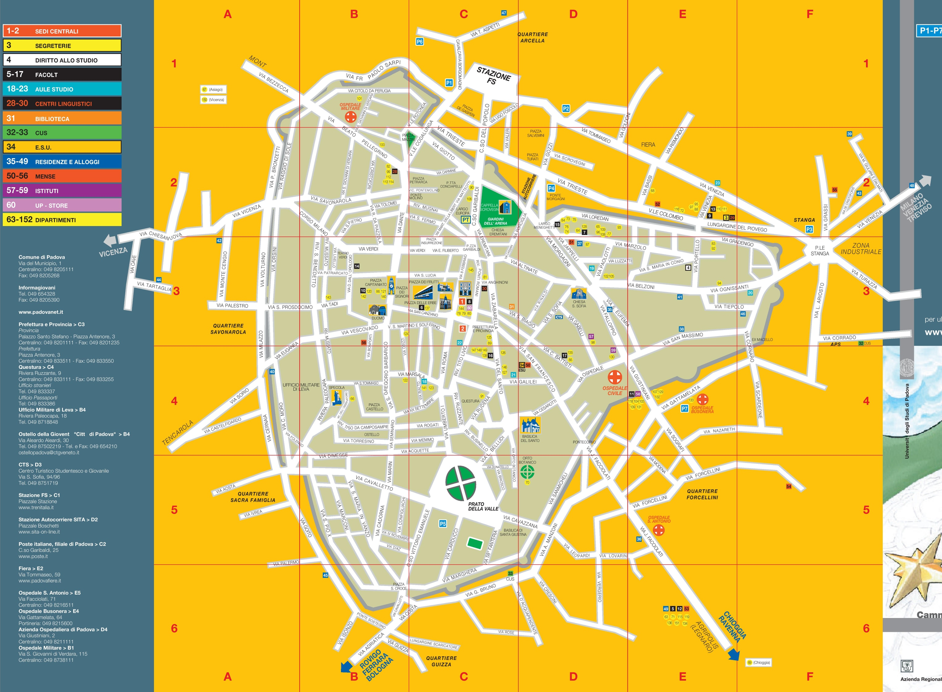 Padova tourist attractions map