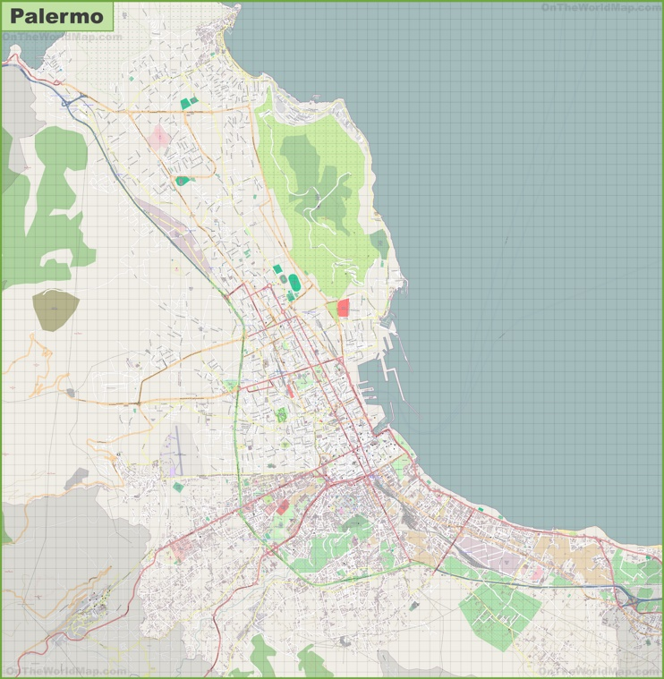Large detailed map of Palermo