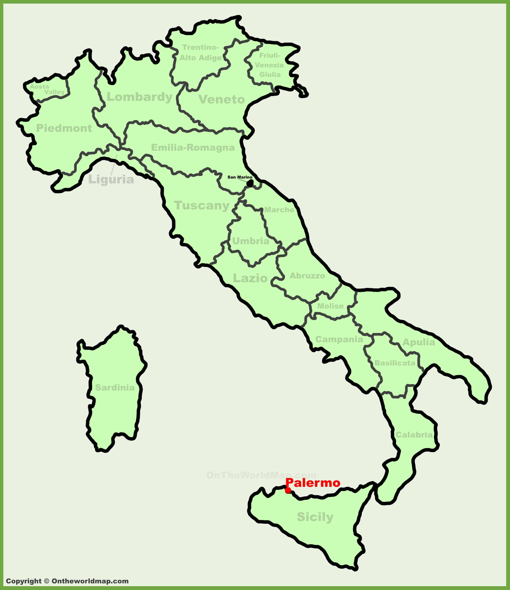 Palermo Location On The Italy Map