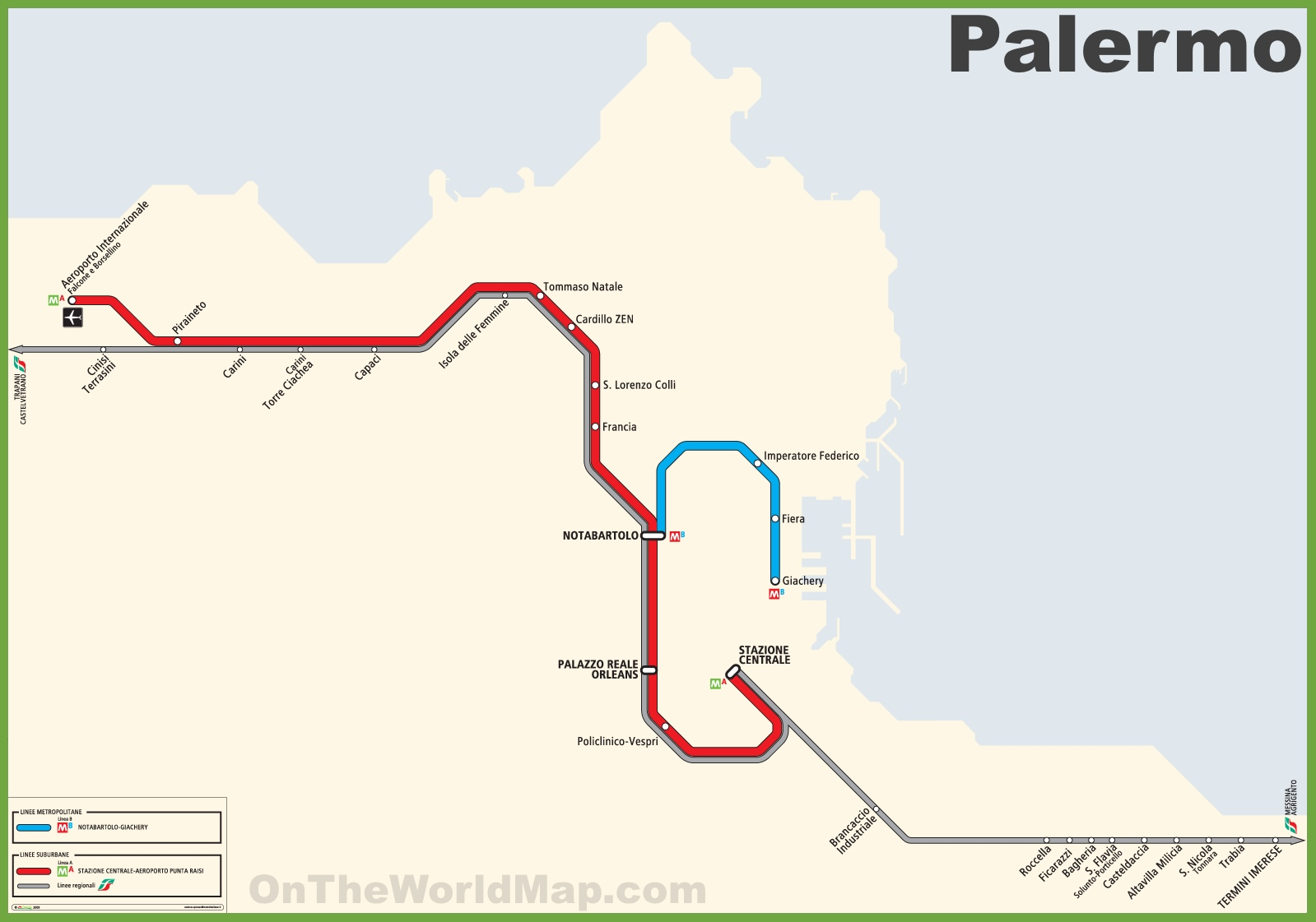 Italy Metro Map.Palermo Metro Map