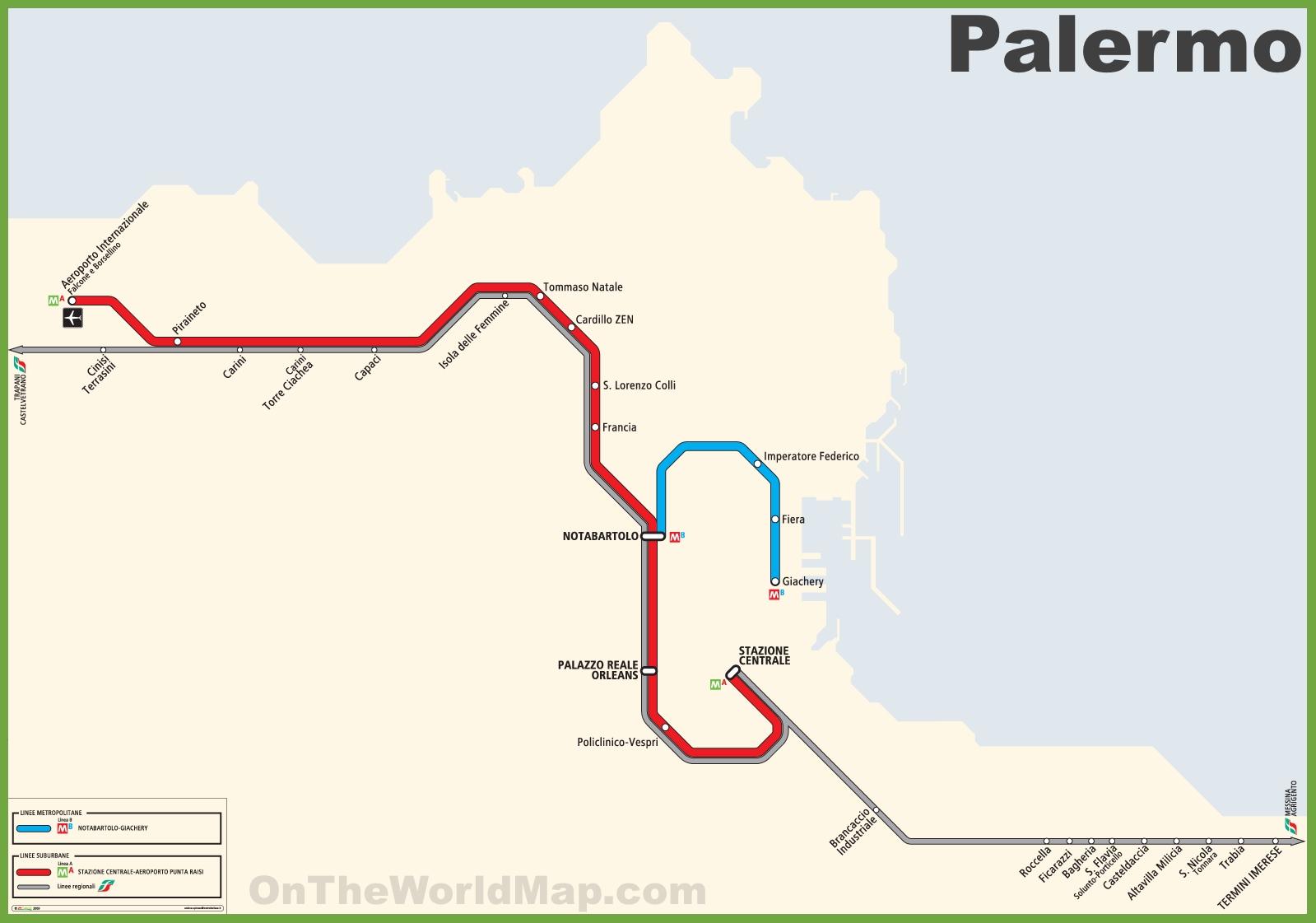 Italy Metro Map.Palermo Metro Map