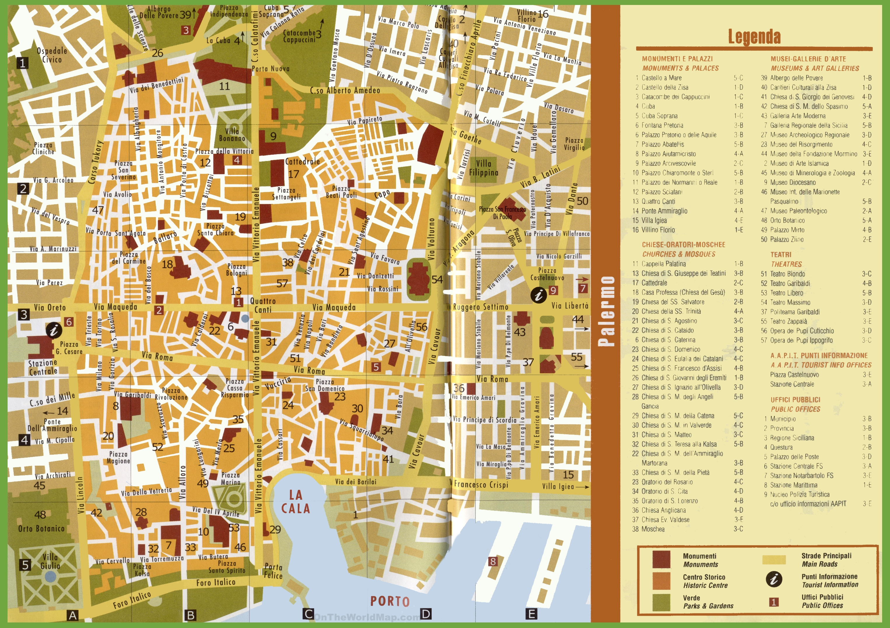 . tourist map of palermo city centre