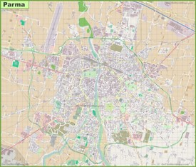Large detailed map of Parma