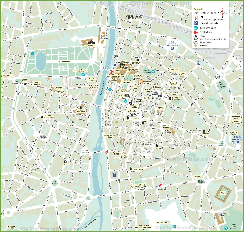 Cartina Roma Turistica.Mappa Turistica Di Parma Centro Citta