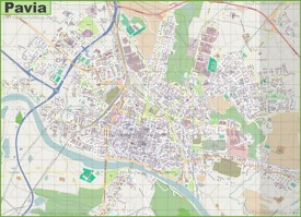 Large detailed map of Pavia