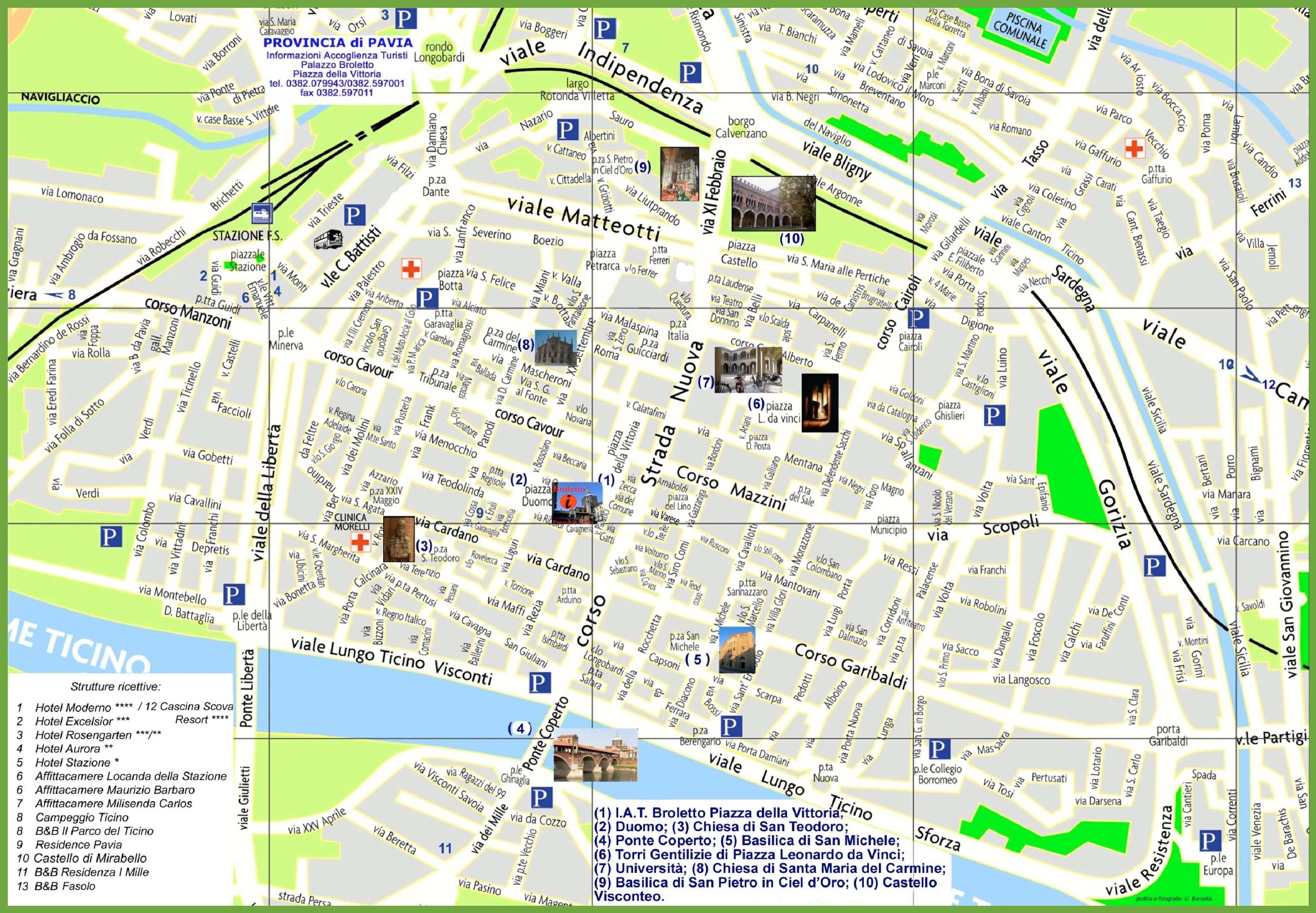 Cartina Lombardia Pavia.Pavia Mappa Turistica