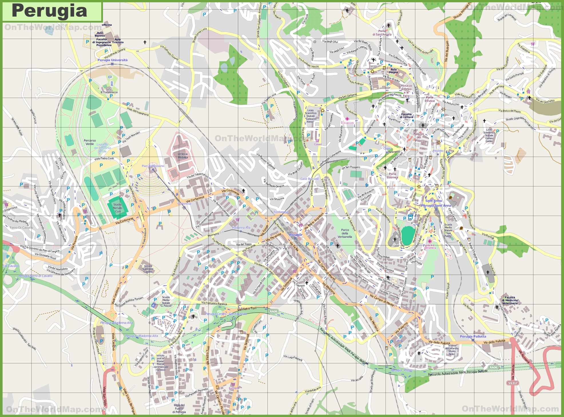 Large detailed map of Perugia