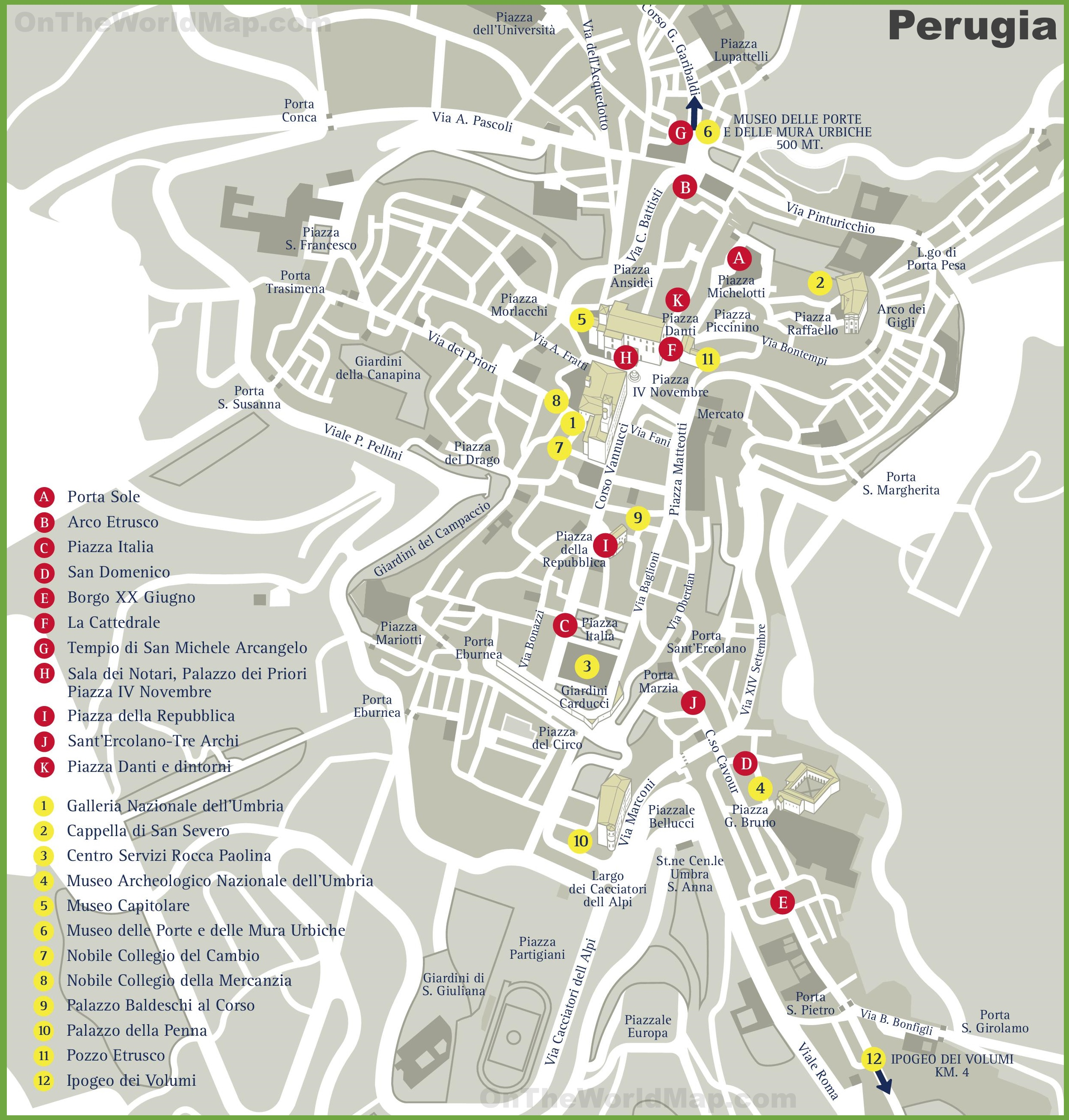 Perugia sightseeing map