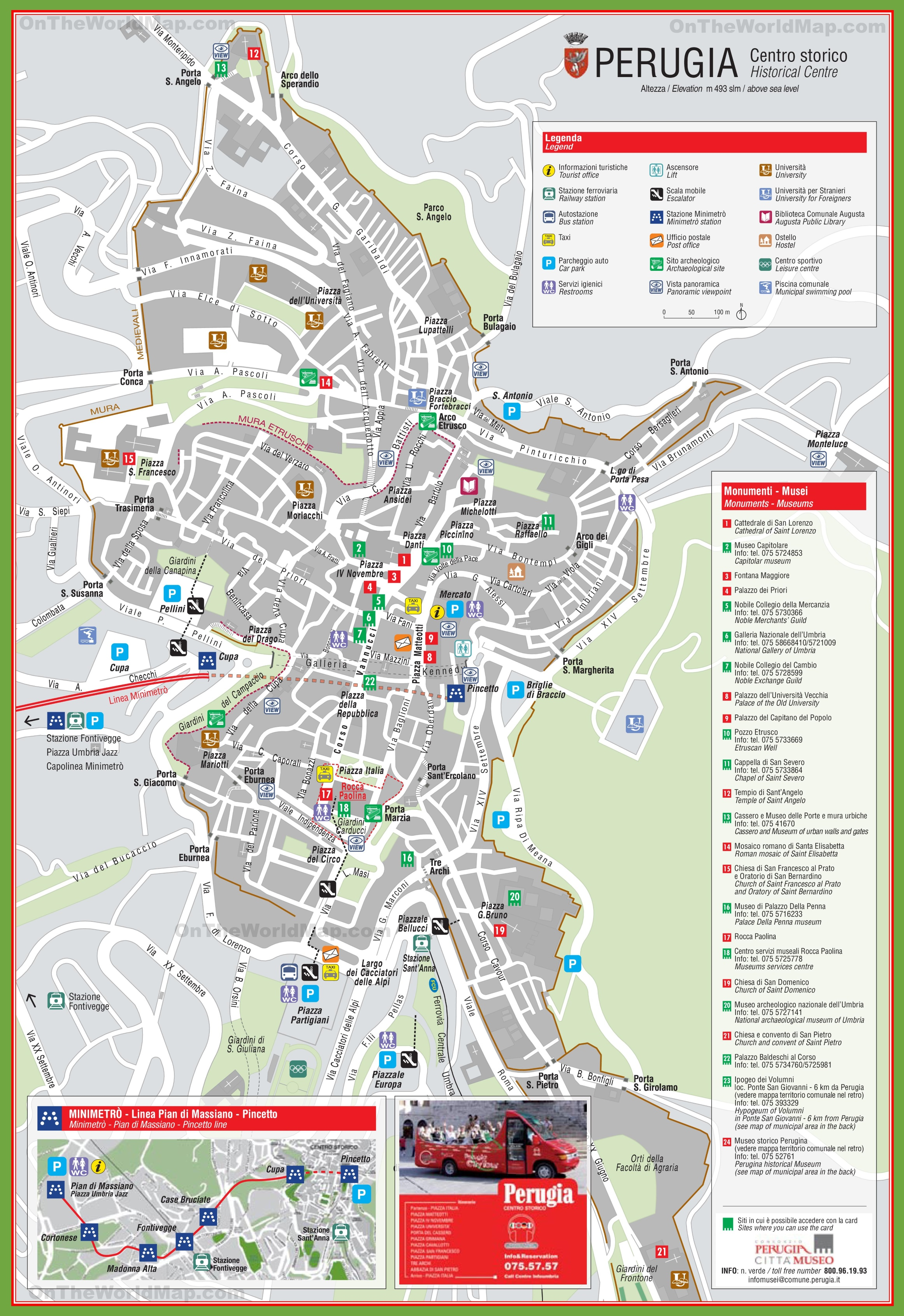 Perugia tourist attractions map – Italy Tourist Attractions Map