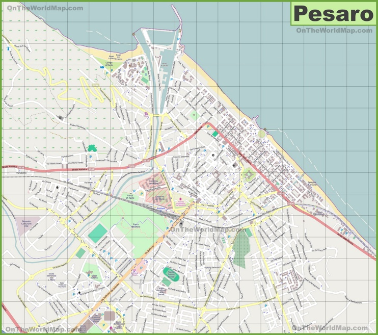 Large detailed map of Pesaro