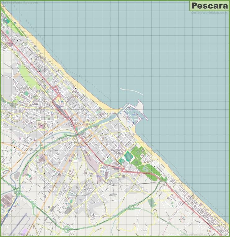Large detailed map of Pescara