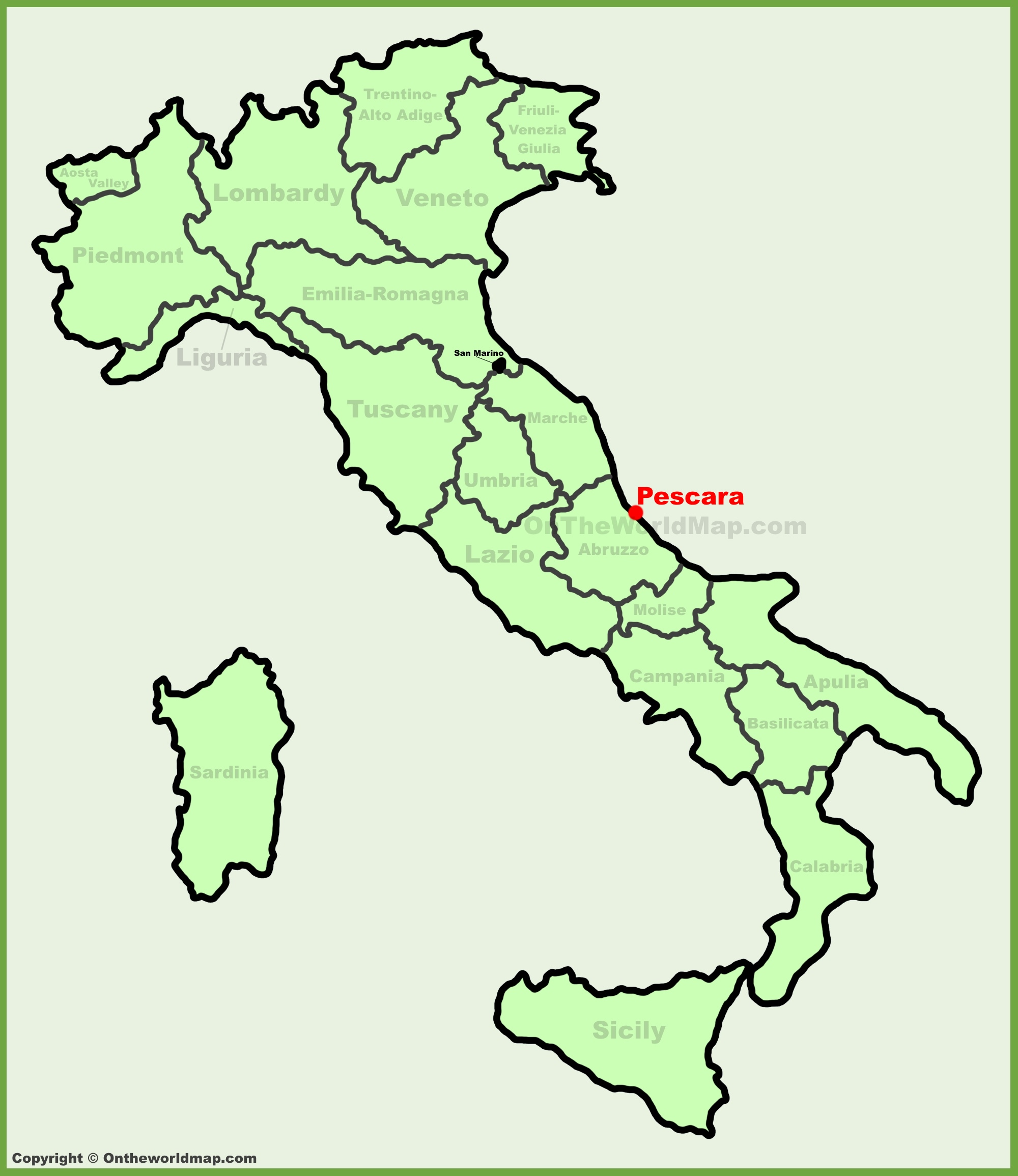 Pescara location on the Italy map