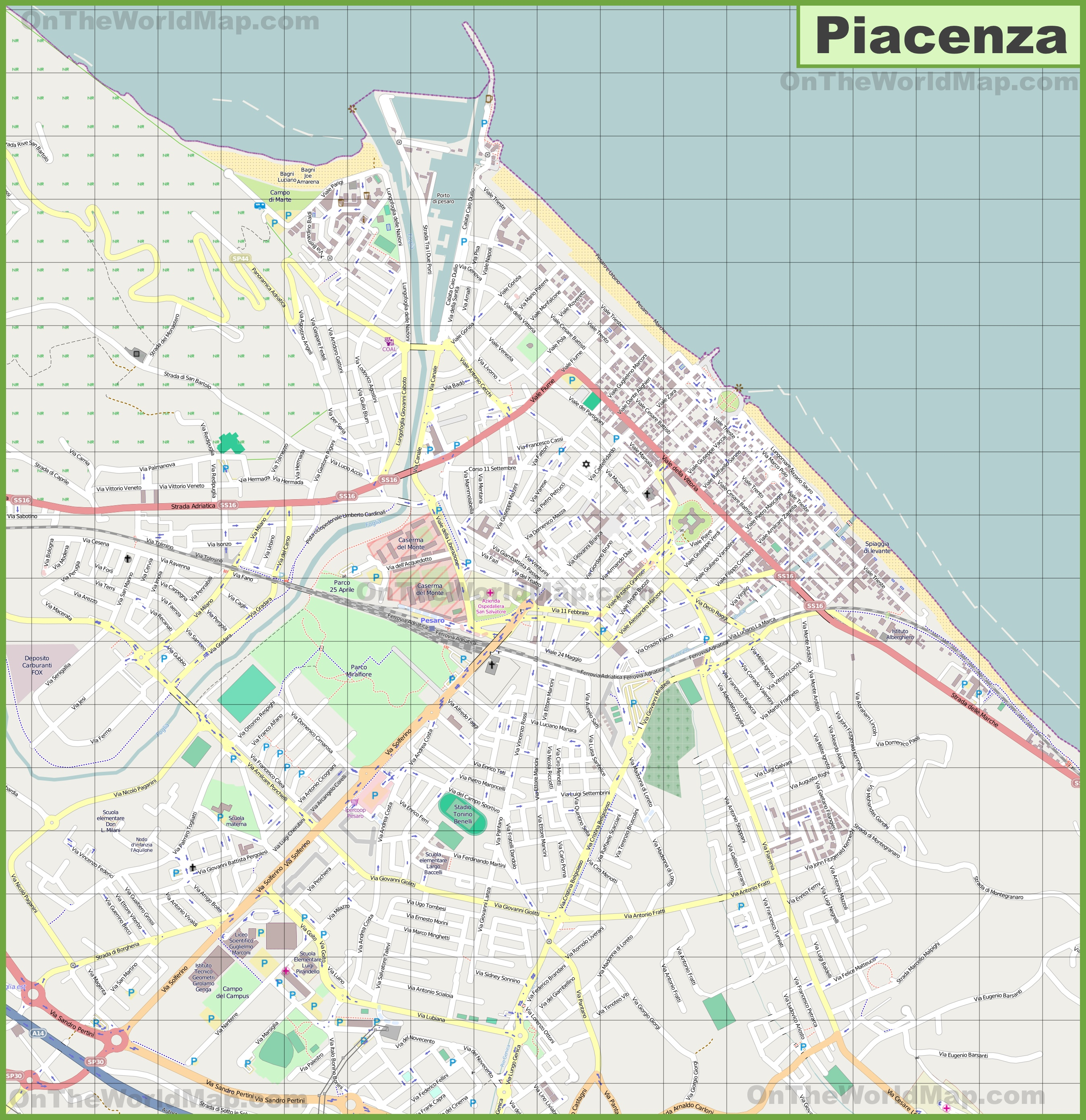 Large detailed map of Piacenza