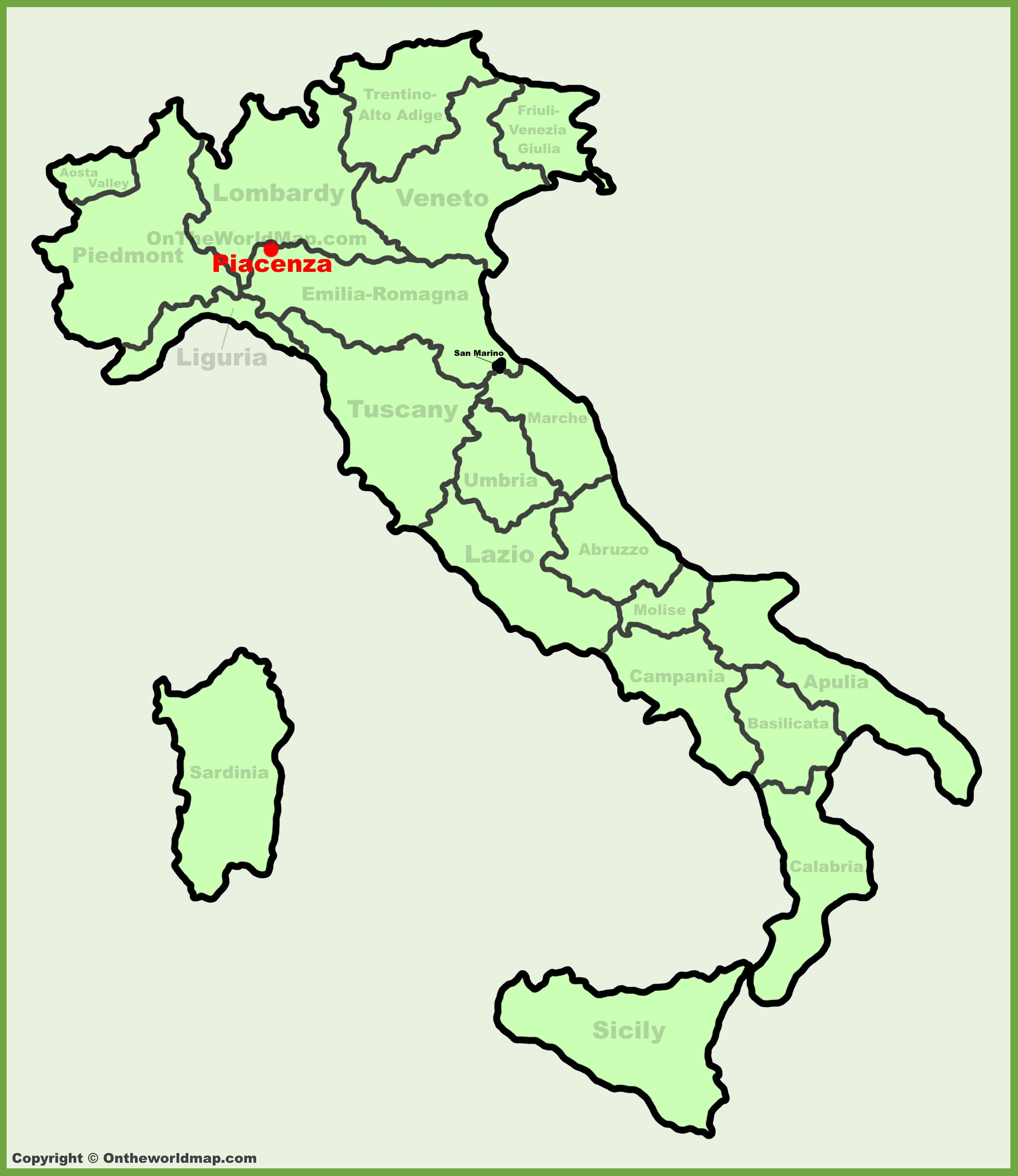 Piacenza location on the Italy map