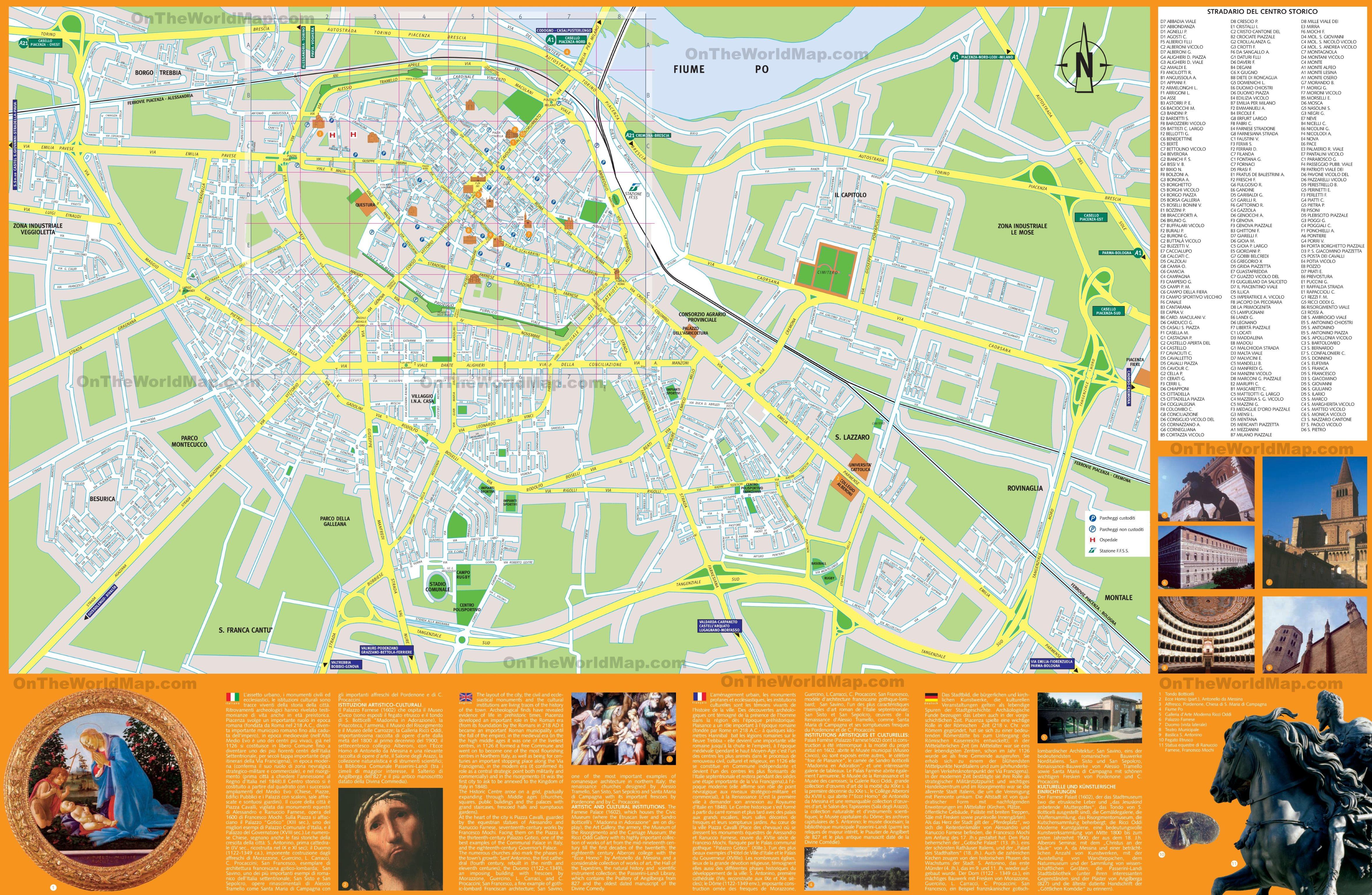 Piacenza sightseeing map