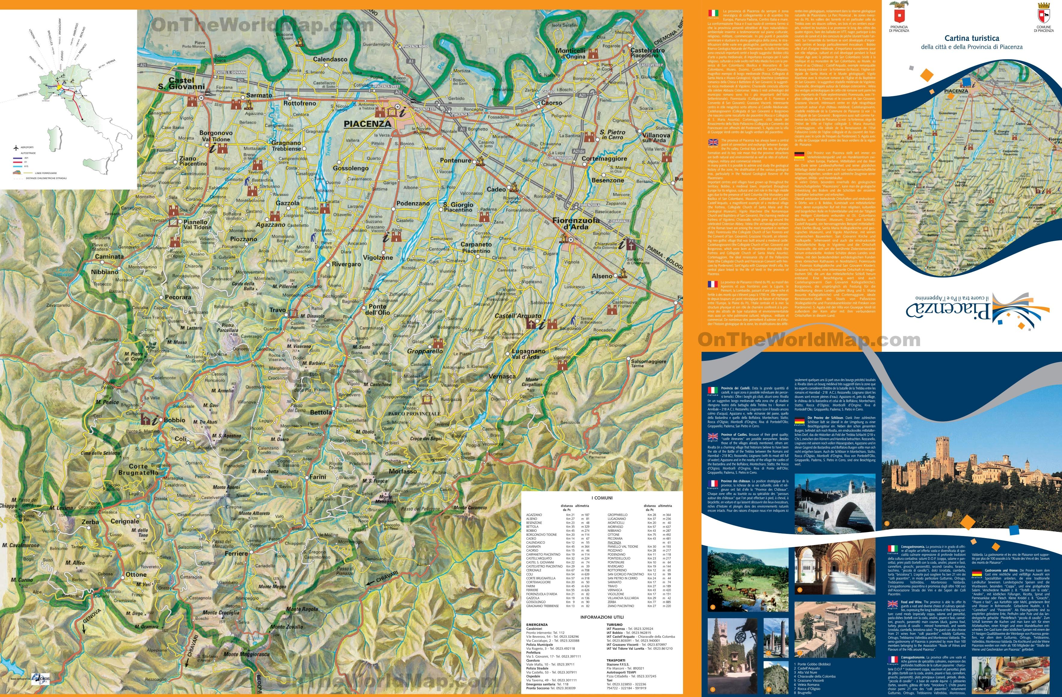 Province of Piacenza tourist map