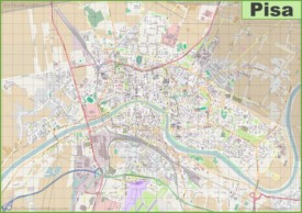 Large detailed map of Pisa