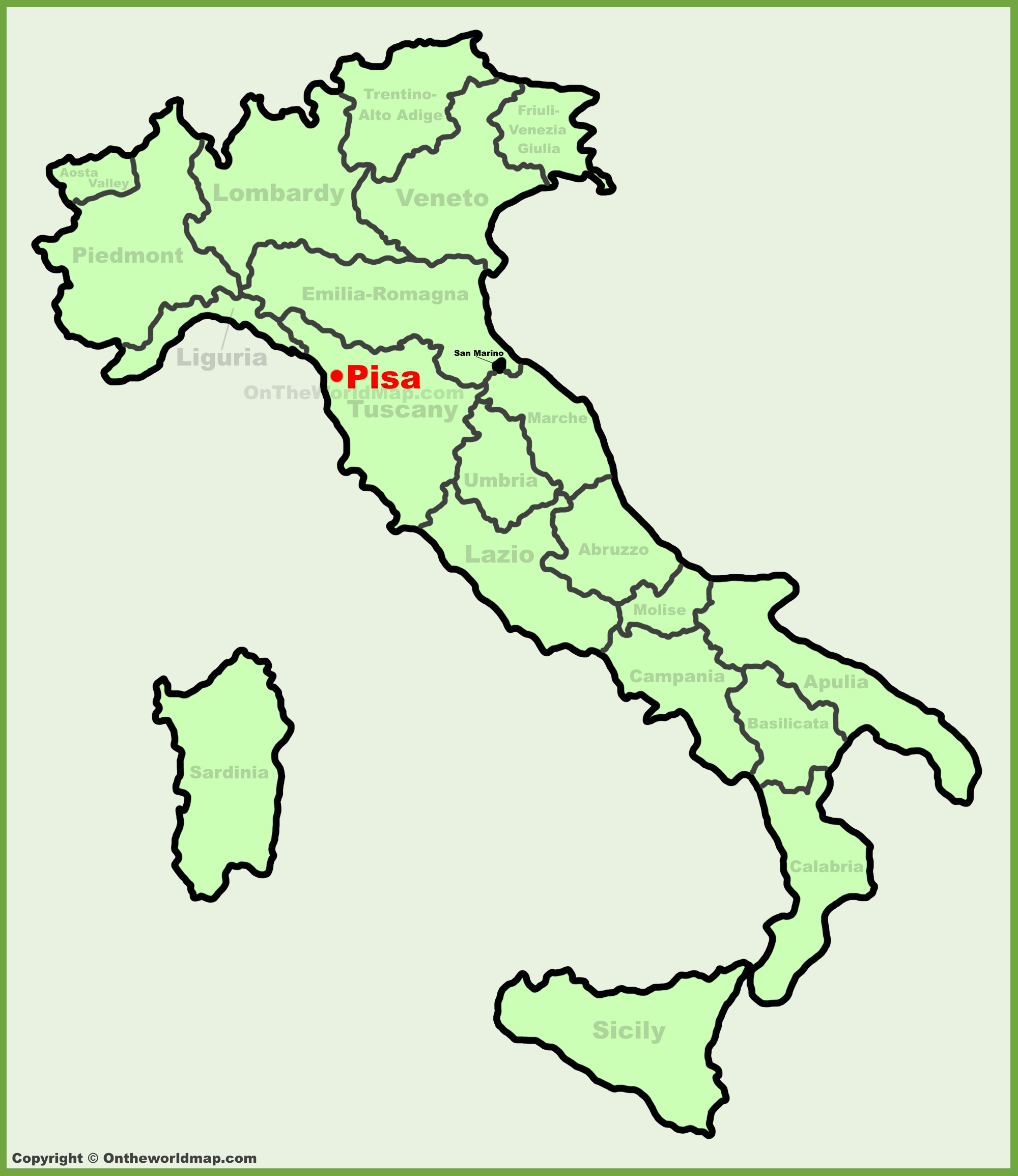 Map Of Italy Showing Pisa.Pisa Location On The Italy Map