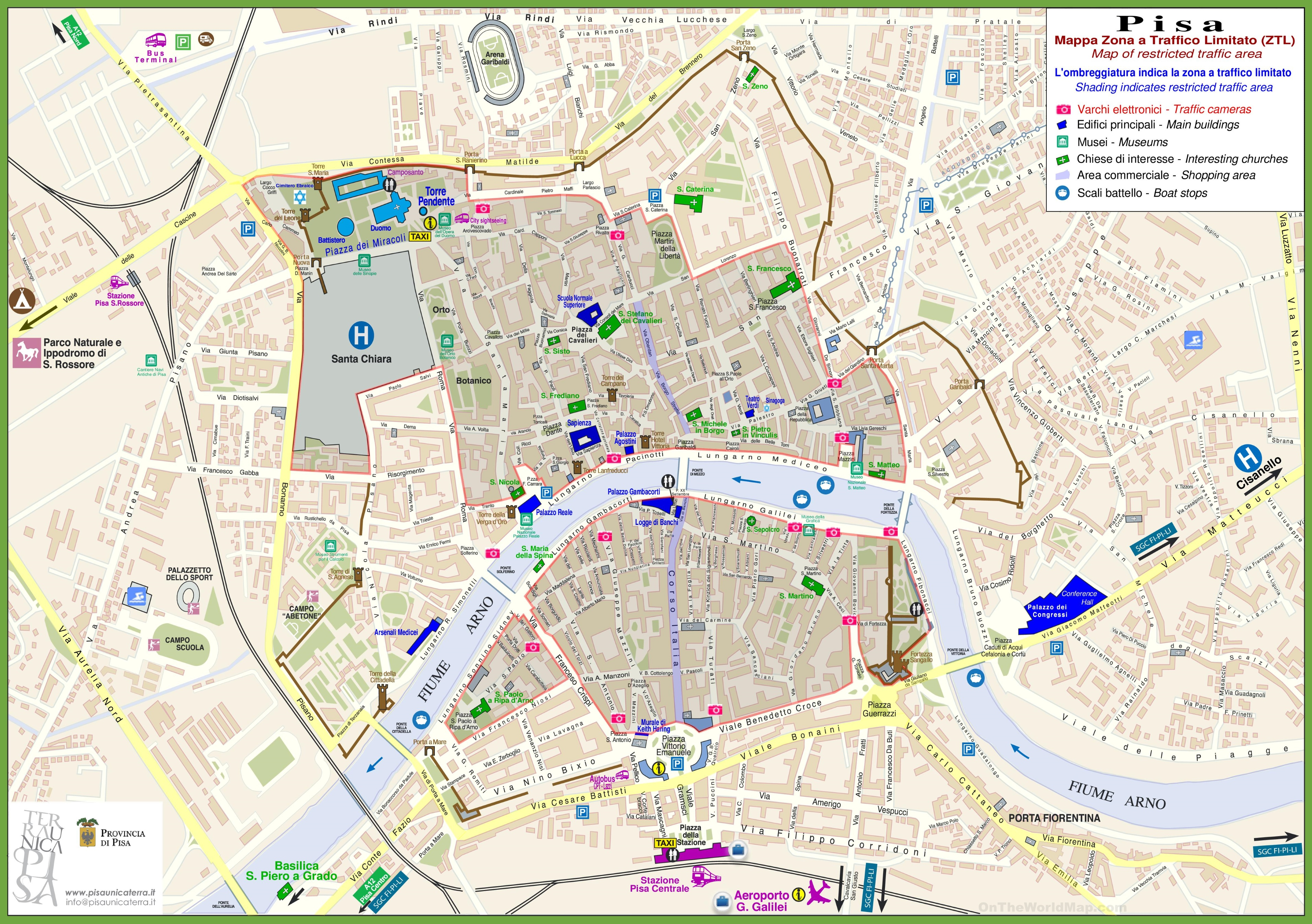 Pisa Sightseeing Map - Los angeles map sightseeing