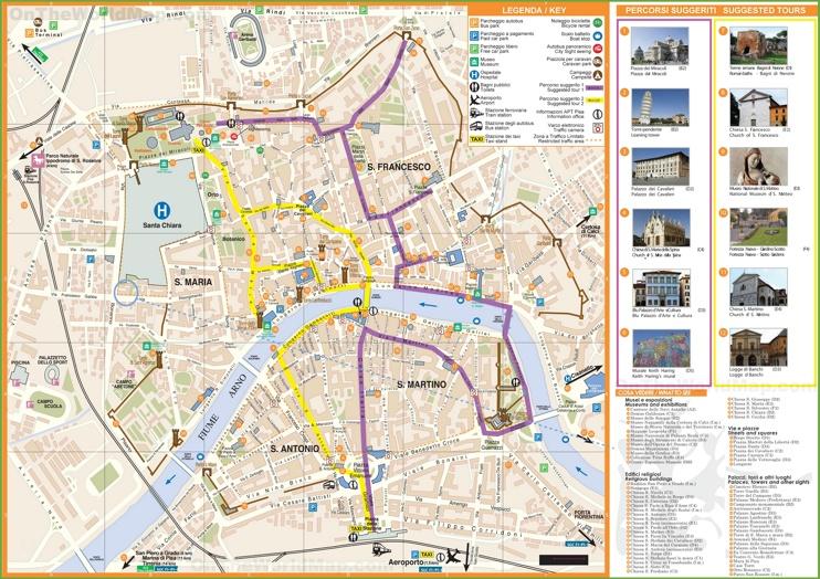 Pisa tourist attractions map