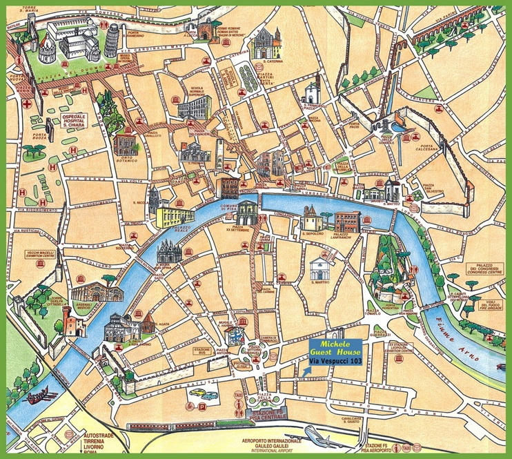 Pisa tourist map