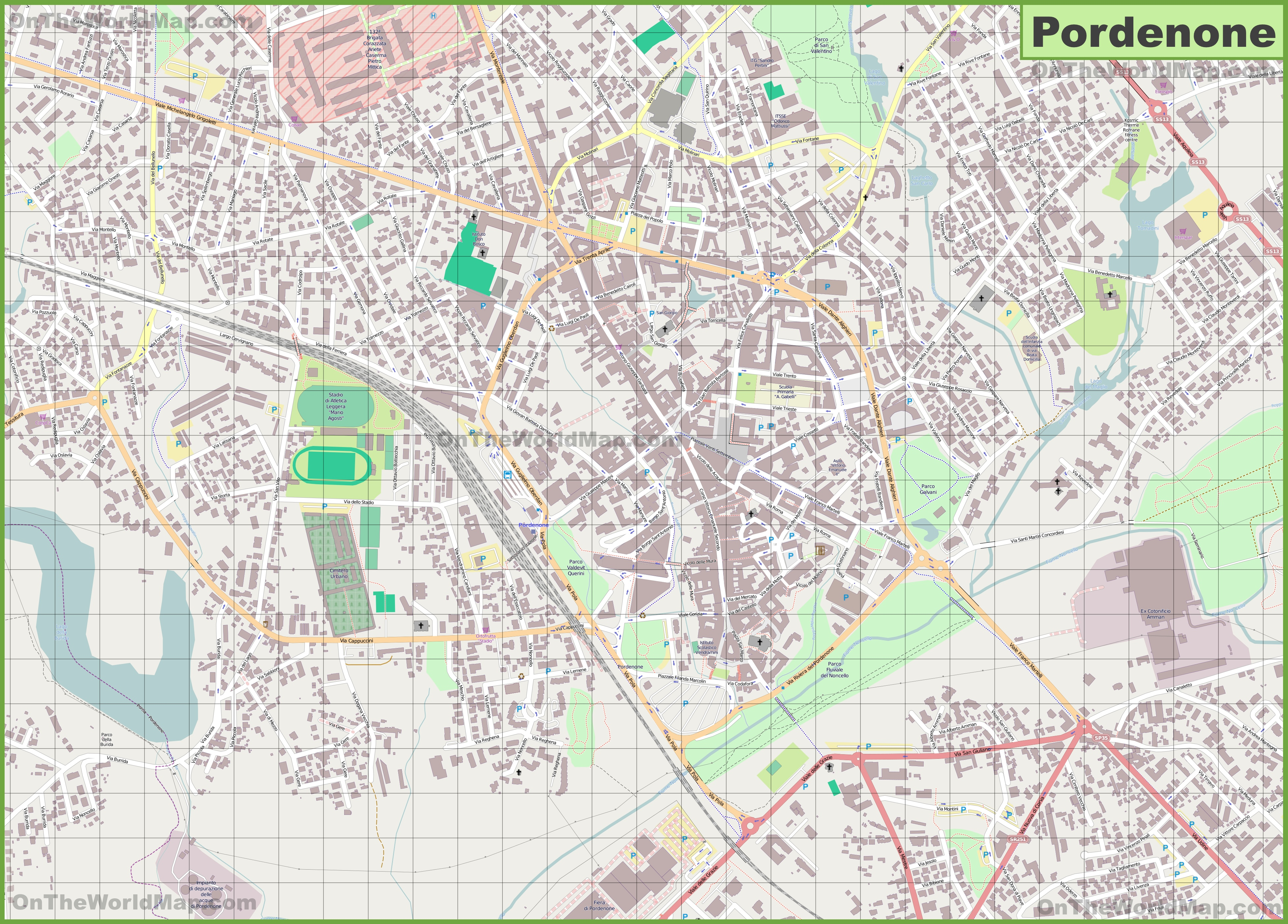 Large Detailed Map Of Pordenone
