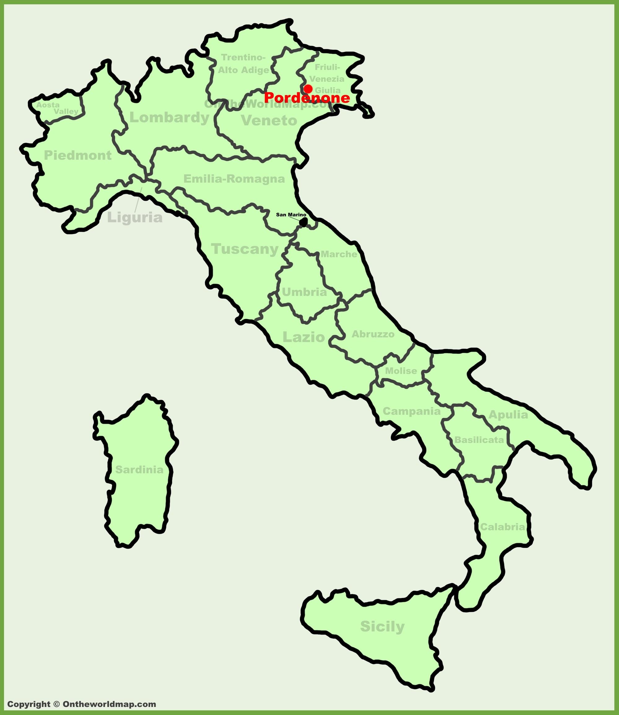 Pordenone Location On The Italy Map