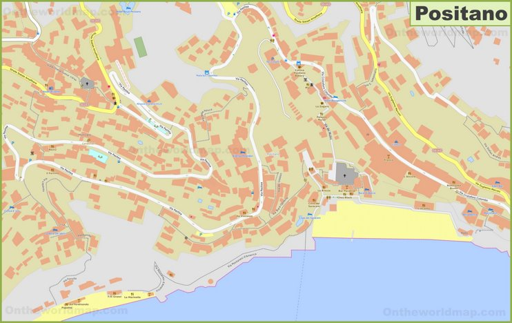 Detailed map of Positano