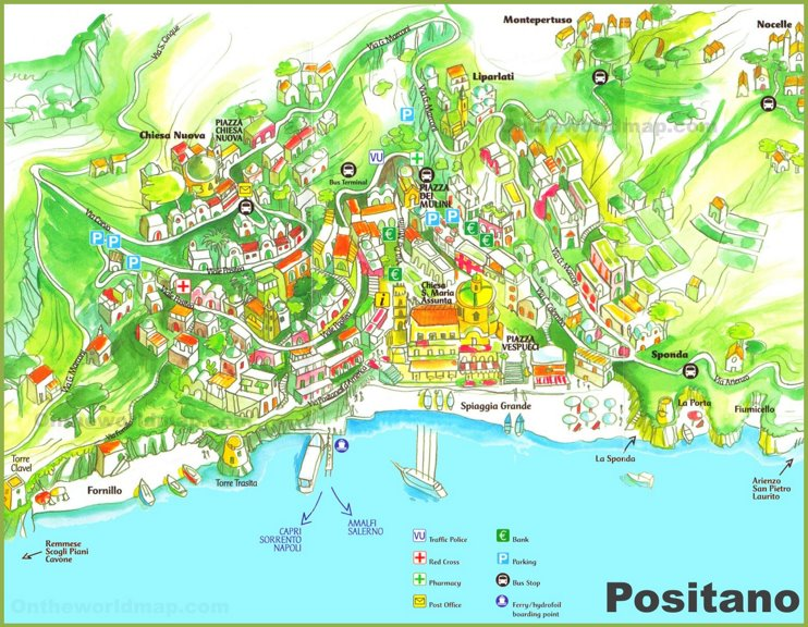 Positano tourist map