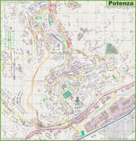 Large detailed map of Potenza