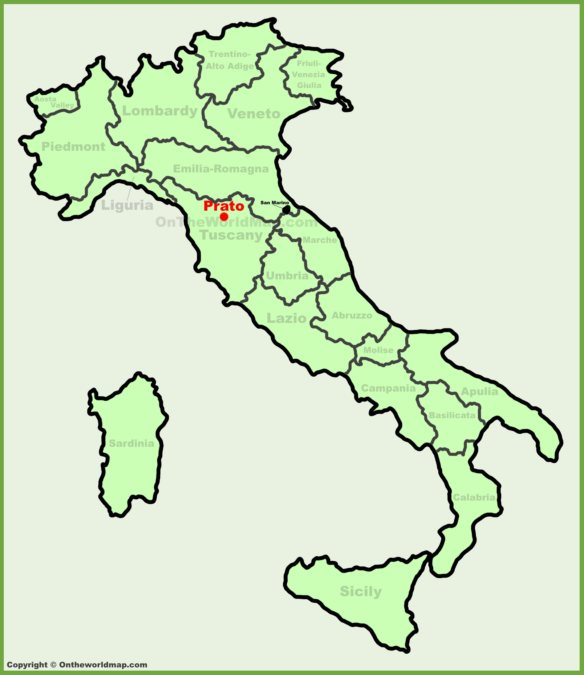 Prato location on the Italy map