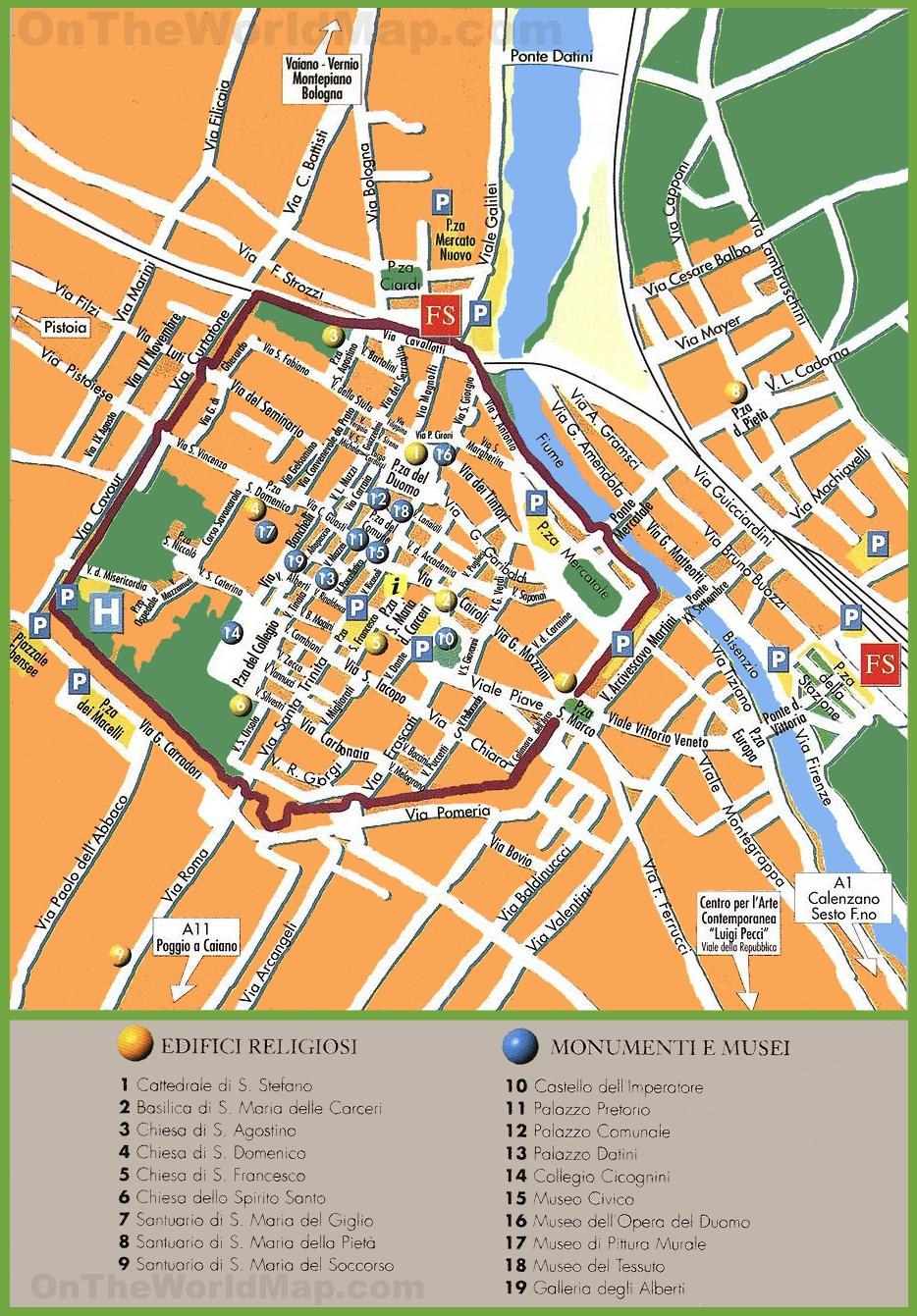 Prato tourist map