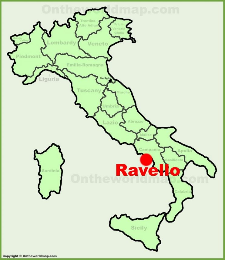 Ravello location on the Italy map