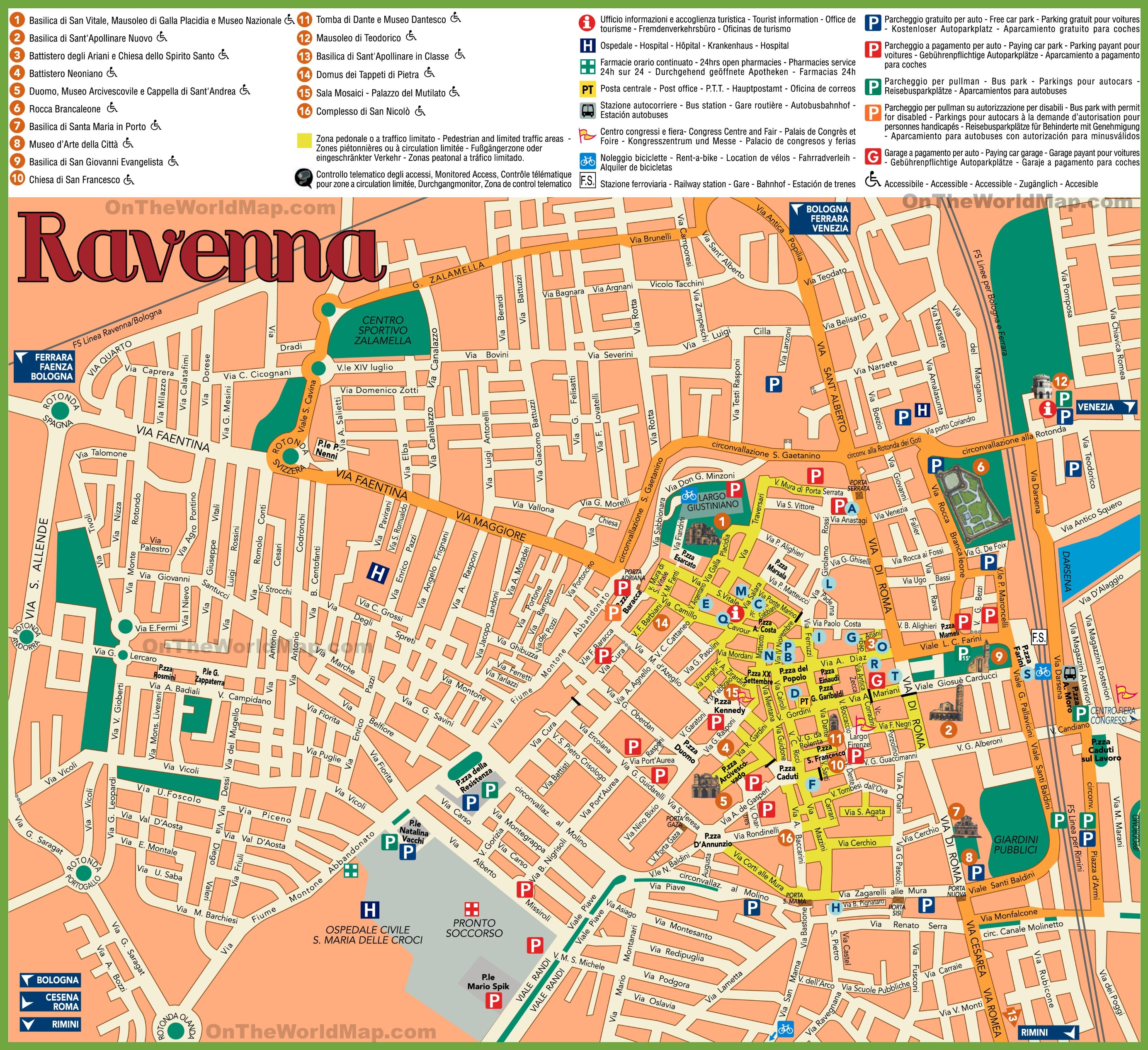 Ravenna sightseeing map