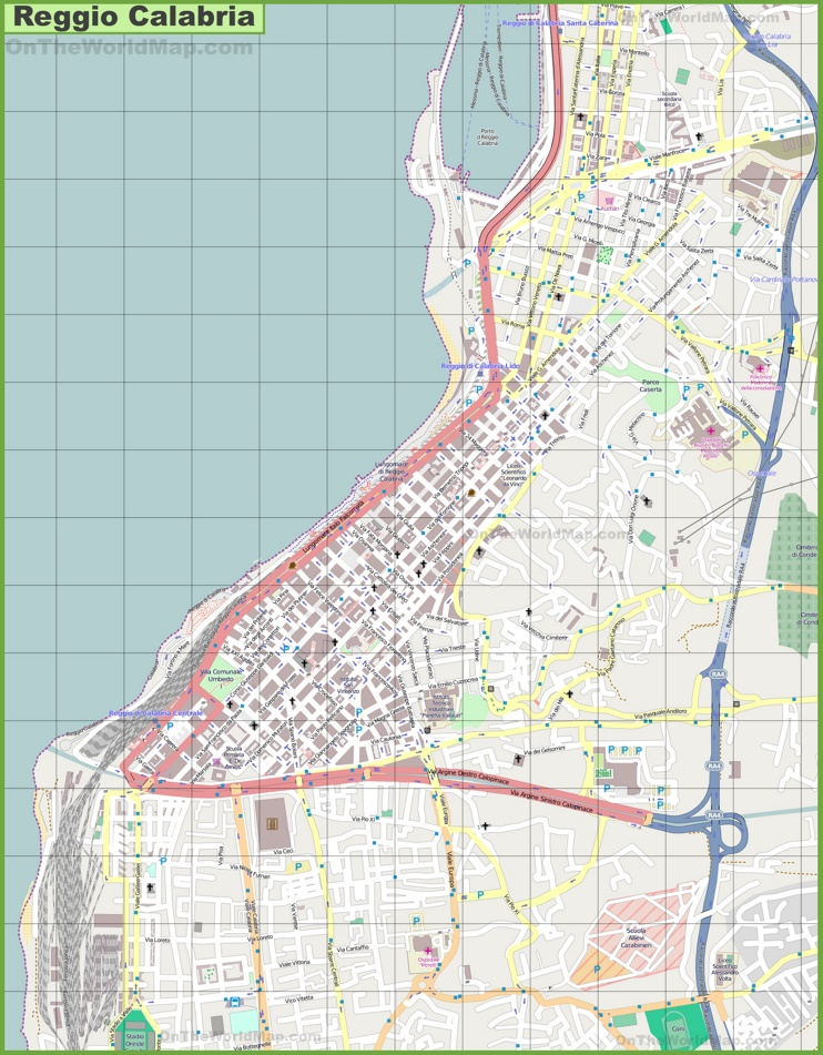 Large detailed map of Reggio Calabria