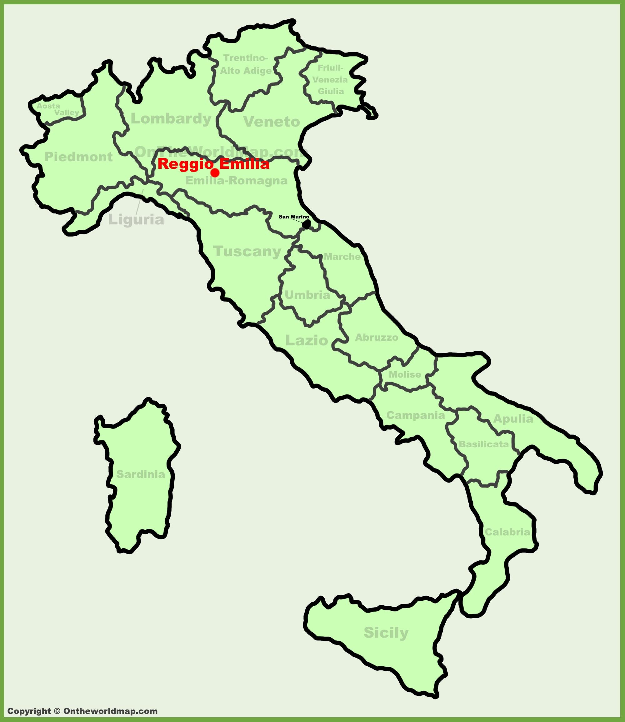 Reggio Emilia Location On The Italy Map