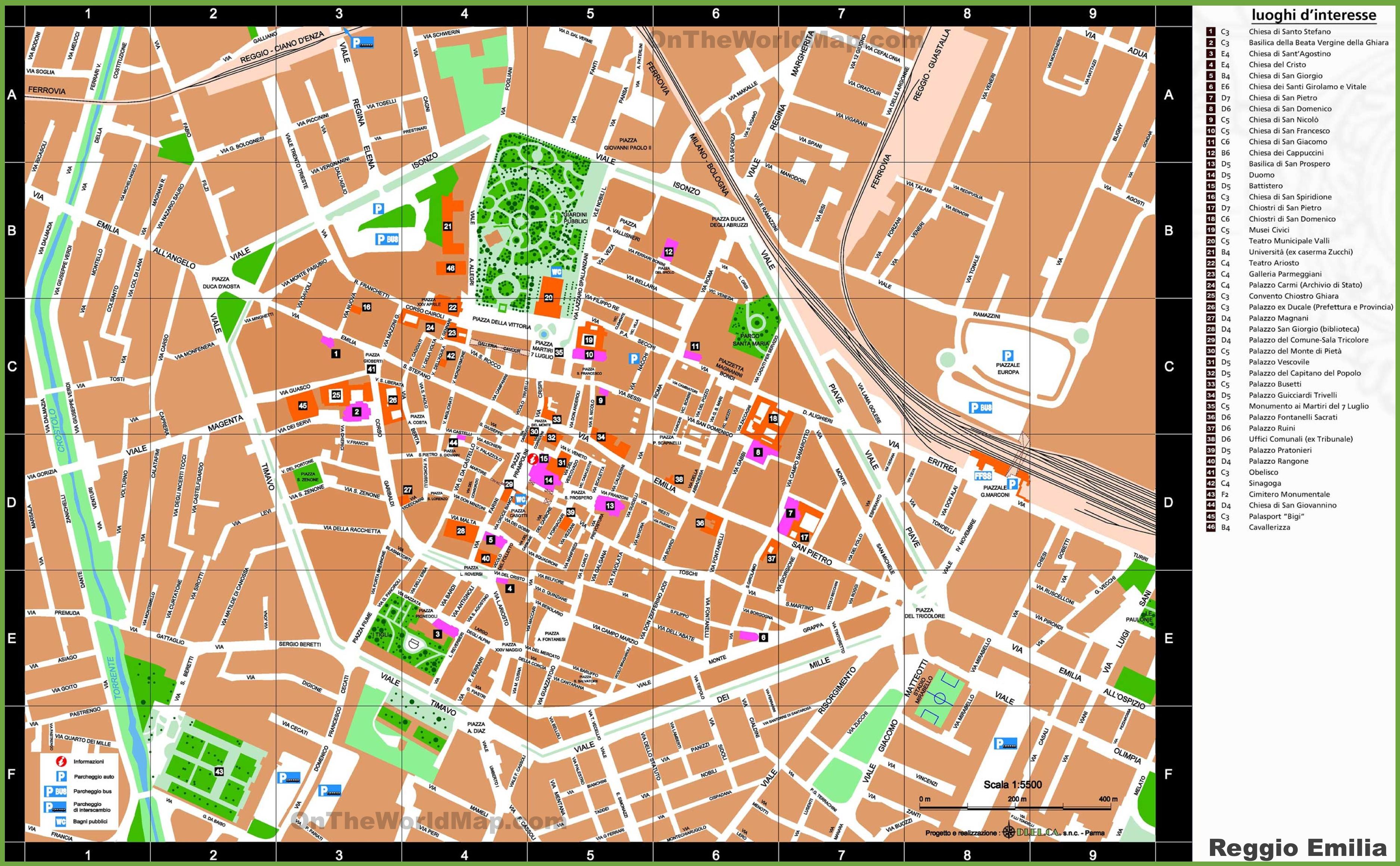 Reggio Emilia sightseeing map